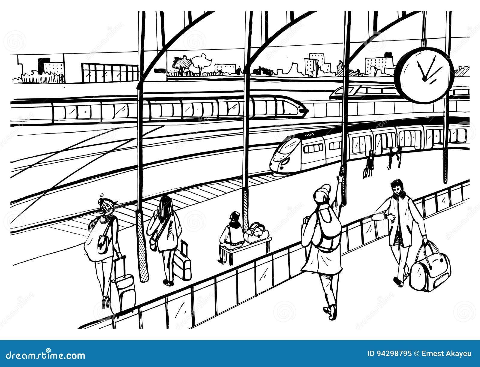 Allgemeine Ansicht Der Bahnplattform Mit Zügen Und Passagieren ...