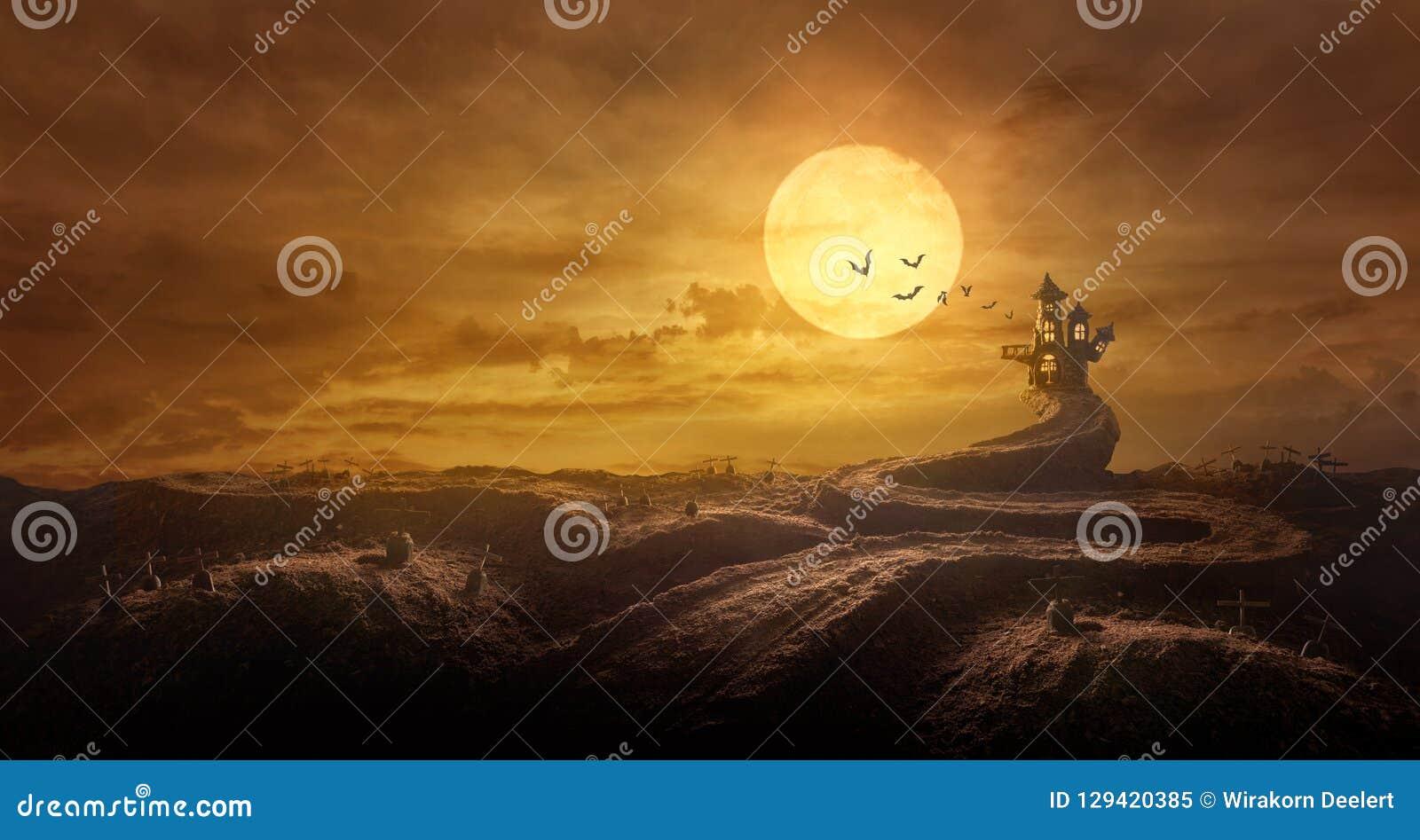 Allhelgonaaftonbakgrund till och med den sträckta väggraven som rockerar spöklikt i natt av fullmånen och slagträflyget