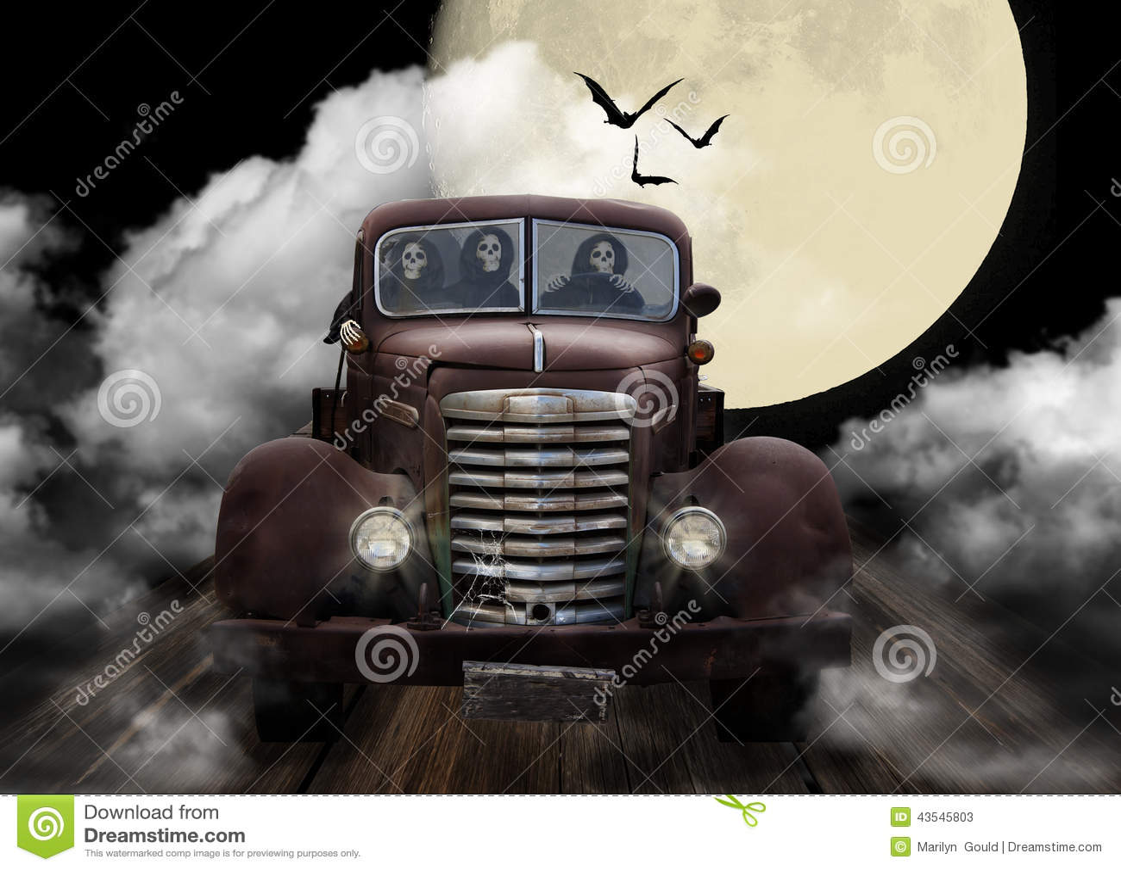 Allhelgonaaftonlikätande onda andar som buskörer i lastbil