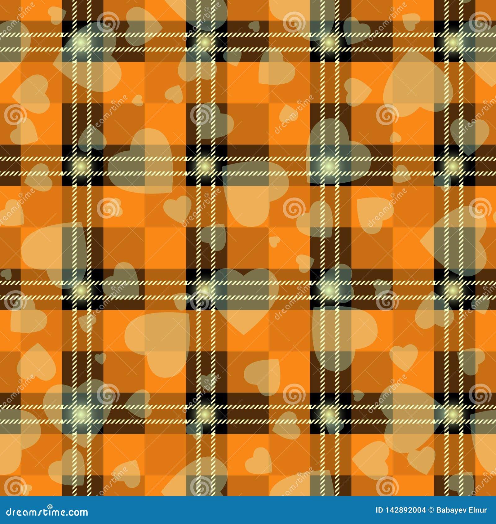 Allhelgonaaftontartanpläd med hjärta Skotsk modell i apelsin-, svart- och grå färgbur Skotsk bur Traditionellt skotskt rutigt