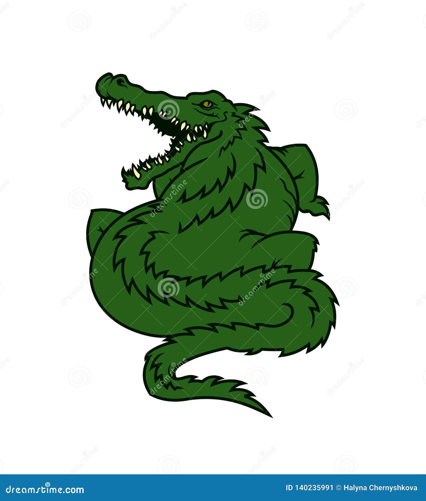 Alligator cartoon mascot character. Fat gator icon