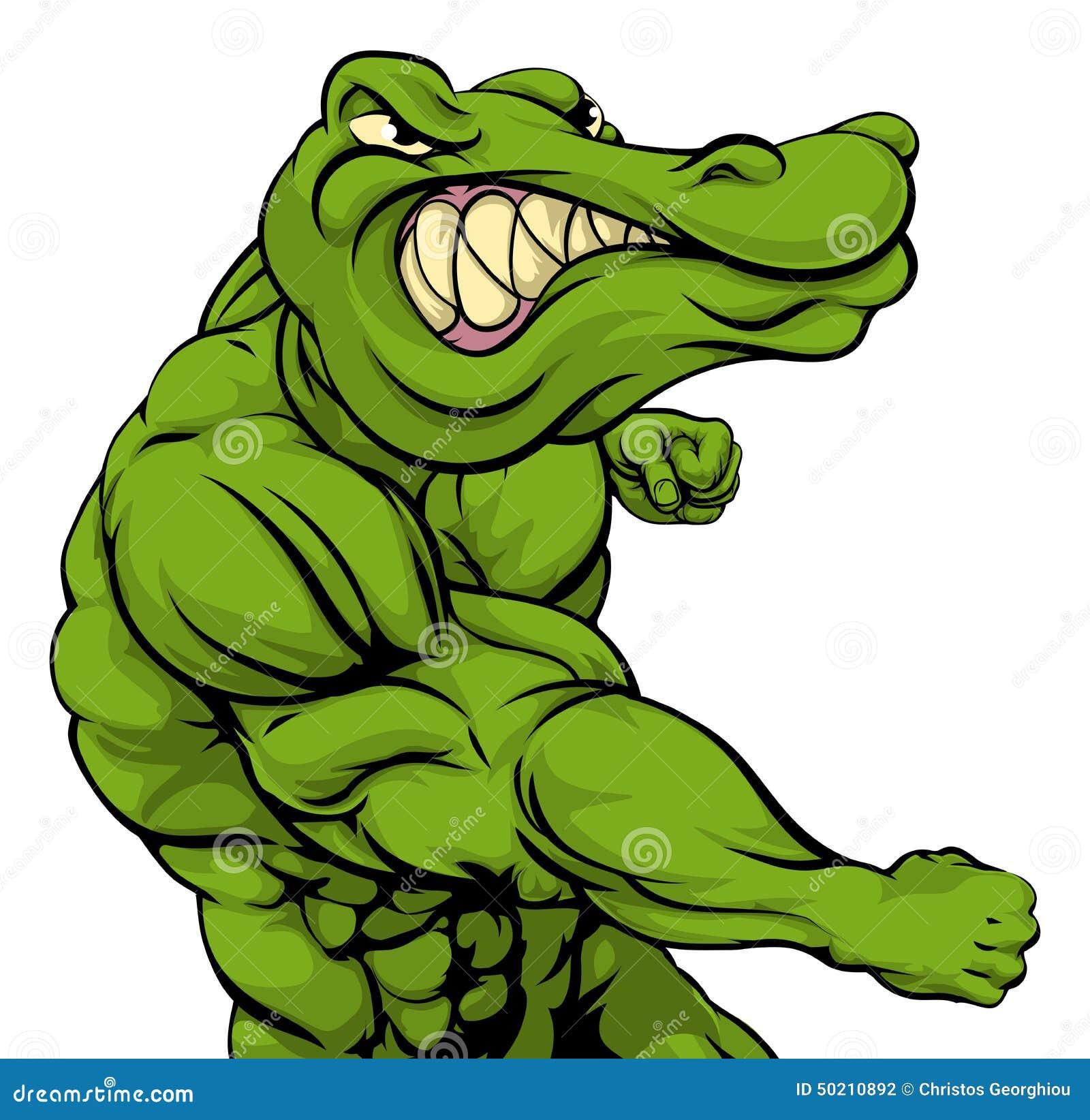 alligator or crocodile mascot fighting stock vector