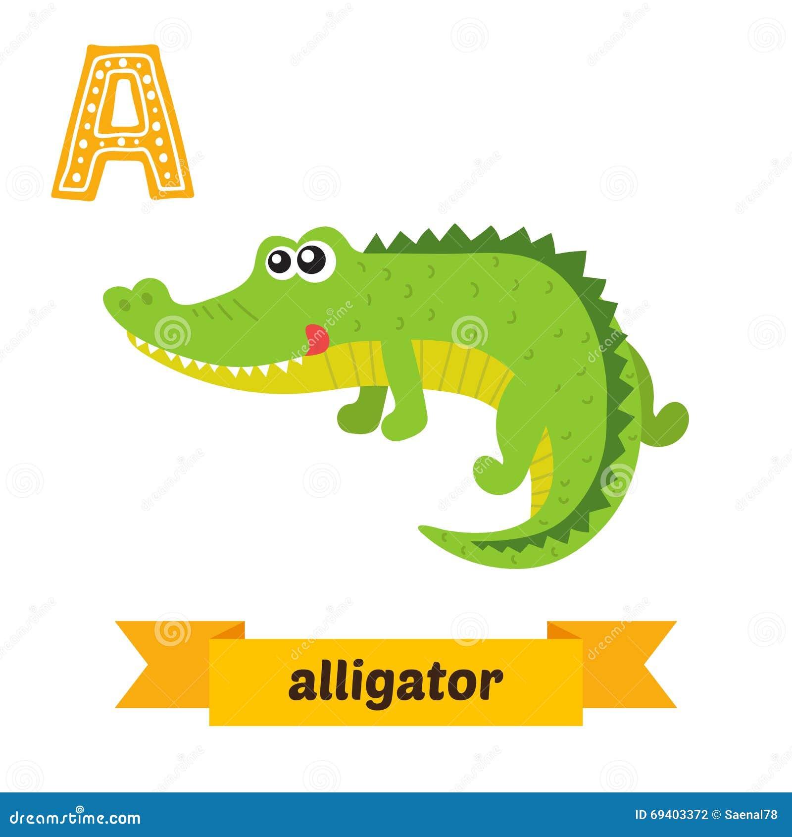 Alligator. A Letter. Cute Children Animal Alphabet In Vector. Fu ...