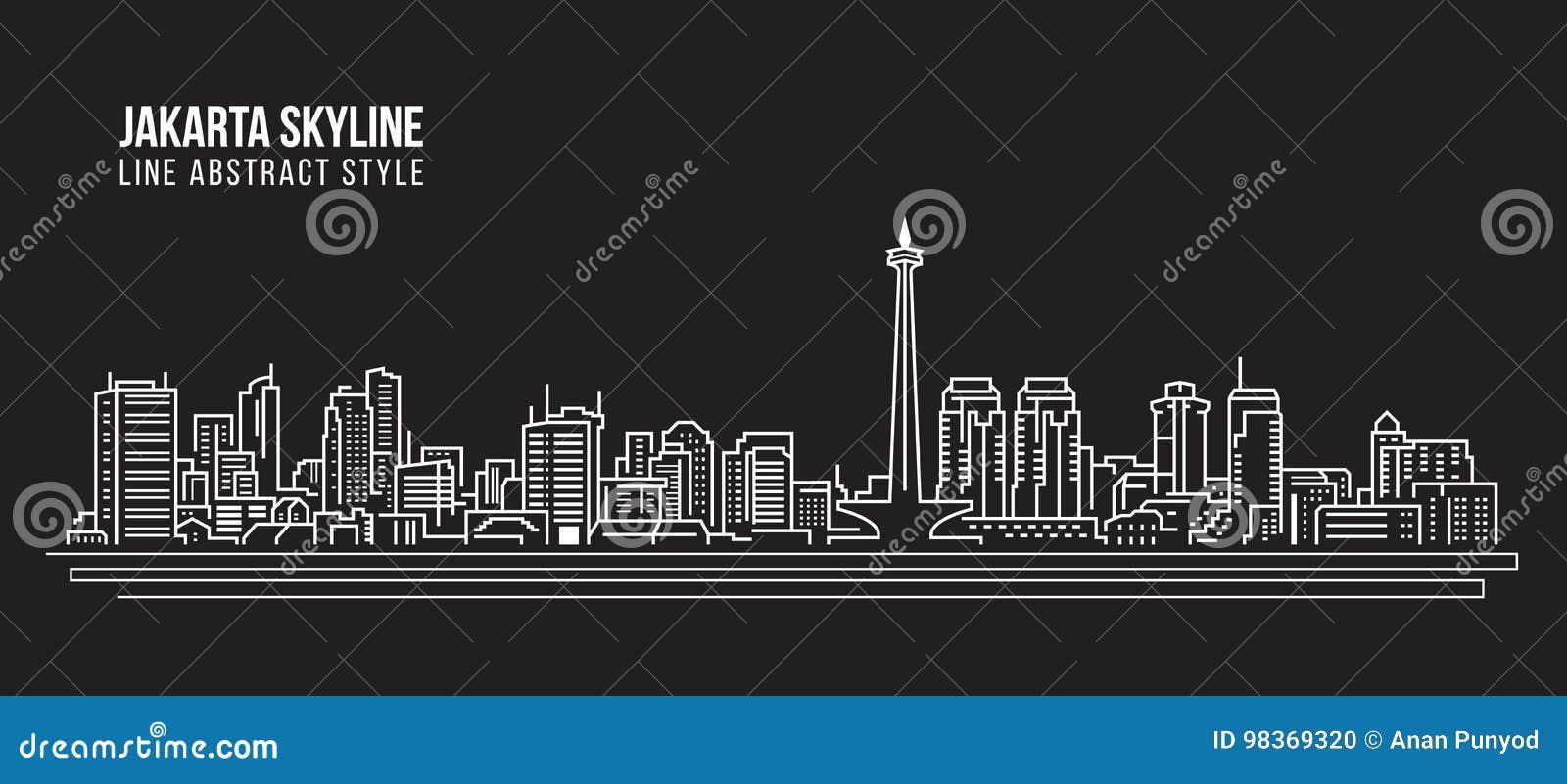 Allineamento dei fabbricati di paesaggio urbano progettazione dell illustrazione di vettore di arte - orizzonte della città di Ja