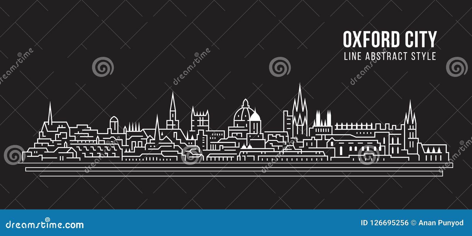 Allineamento dei fabbricati di paesaggio urbano progettazione dell illustrazione di vettore di arte - città di Oxford