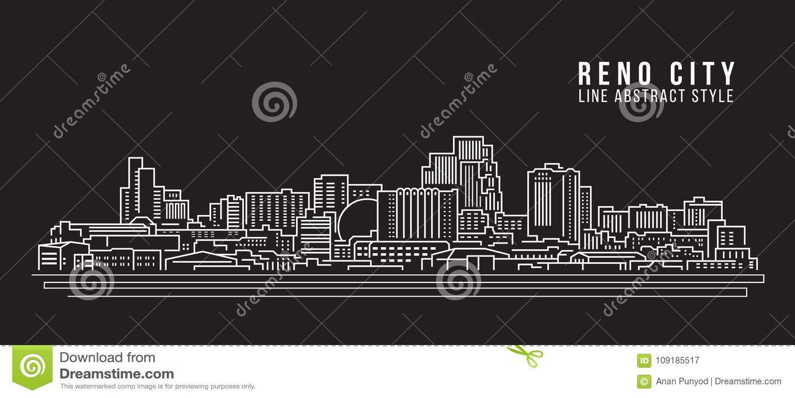 Allineamento dei fabbricati di paesaggio urbano progettazione dell illustrazione di vettore di arte - città di Reno