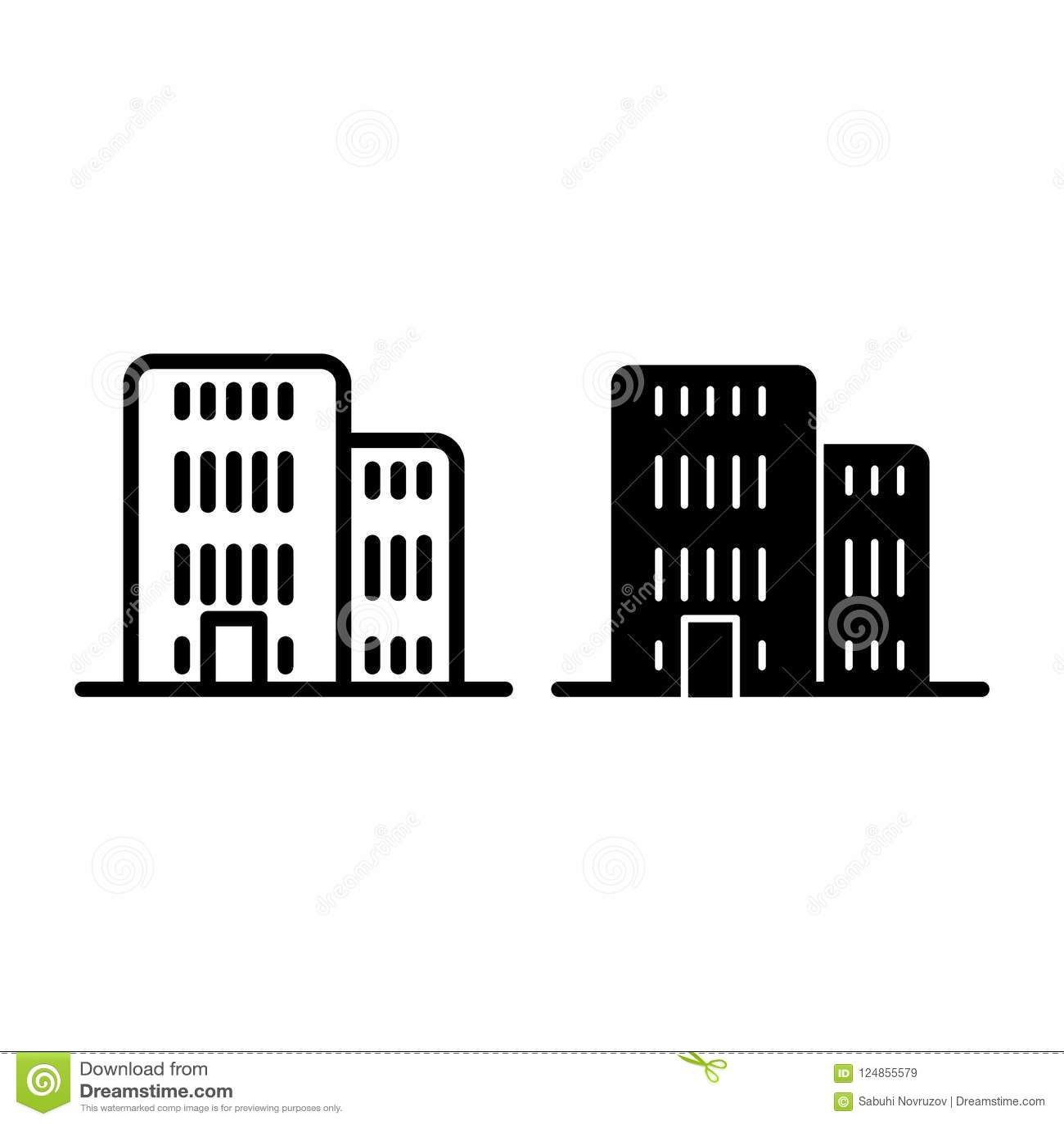 Allineamento dei fabbricati ed icona di glifo Illustrazione di vettore di architettura isolata su bianco Progettazione di stile d