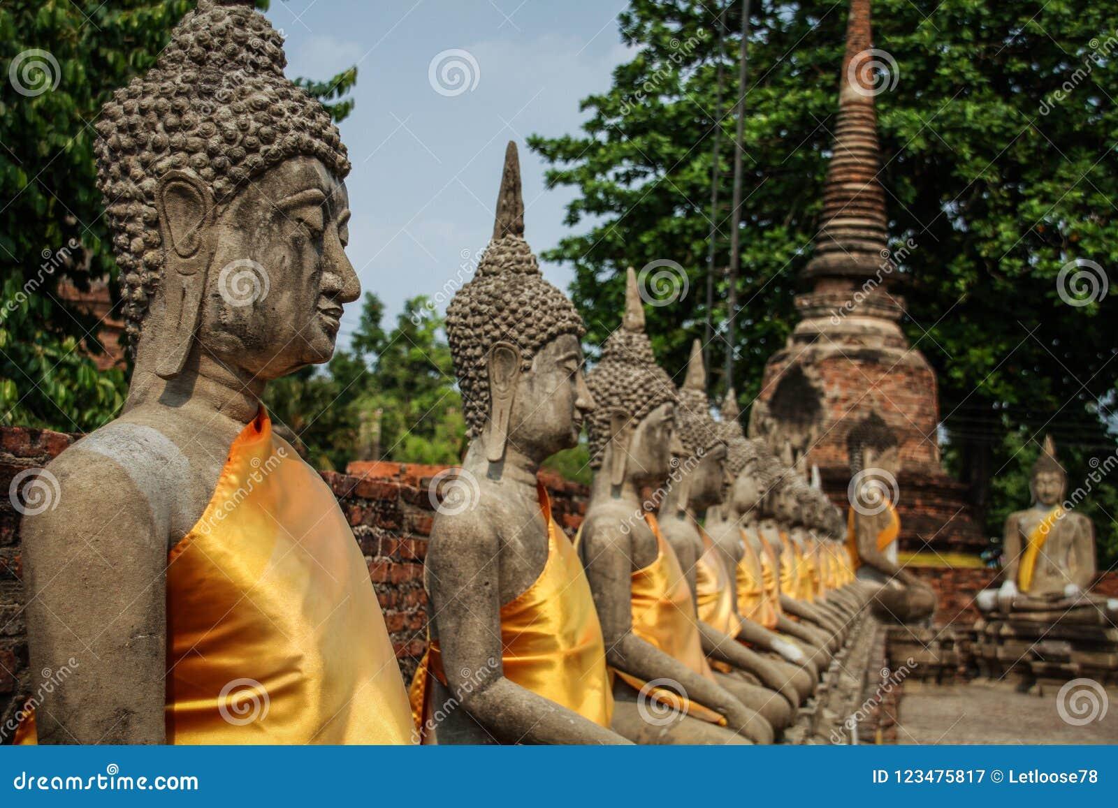 Allineamento delle statue di Buddha al tempio di Wat Yai Chai Mongkhon, Ayutthaya, Chao Phraya Basin, Tailandia centrale, Tailand
