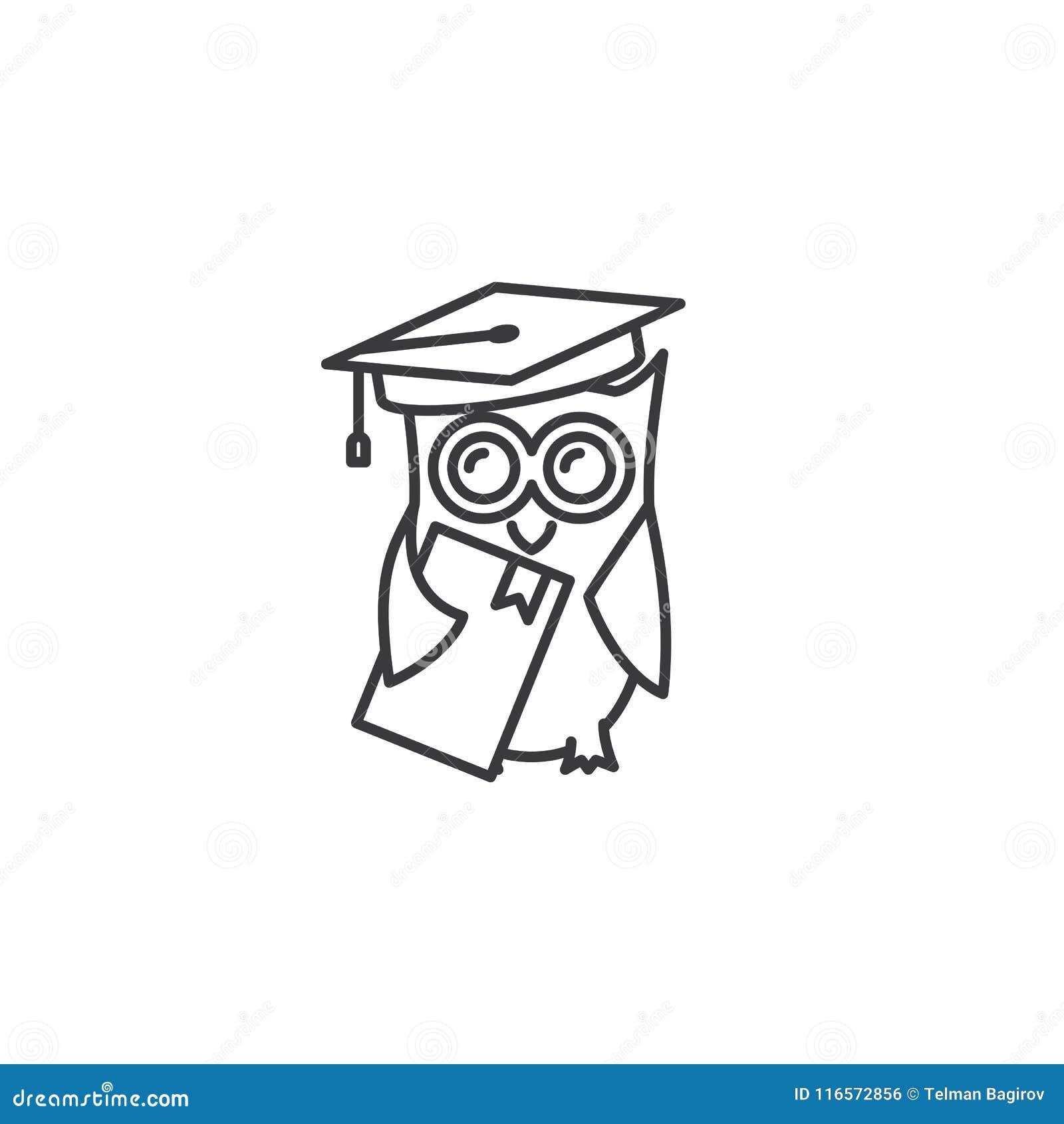 Allini il gufo graduato con l icona del libro su fondo bianco