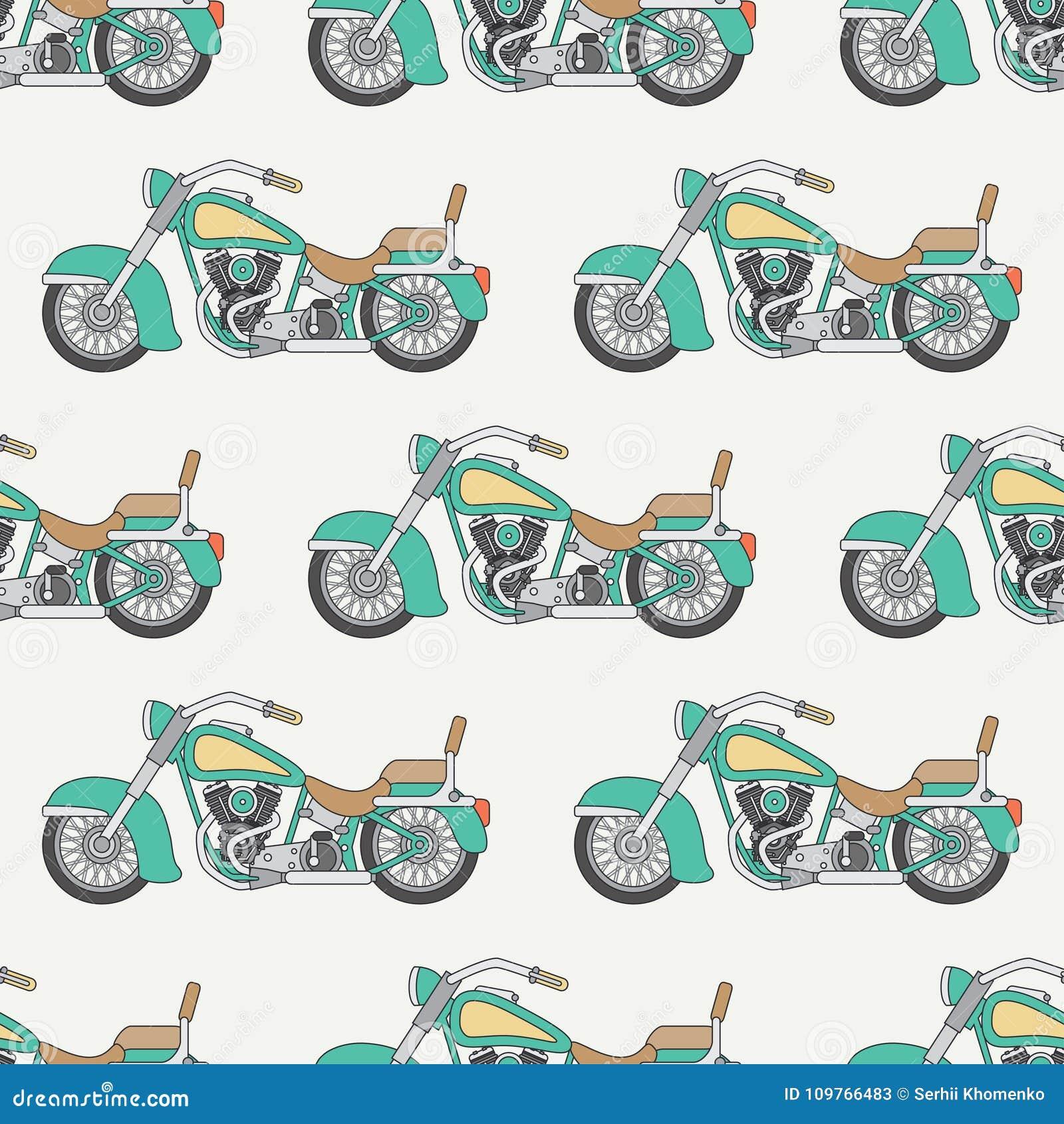 Allini la bici senza cuciture piana del classico del motociclo del modello di colore di vettore Retro leggendario Stile del fumet