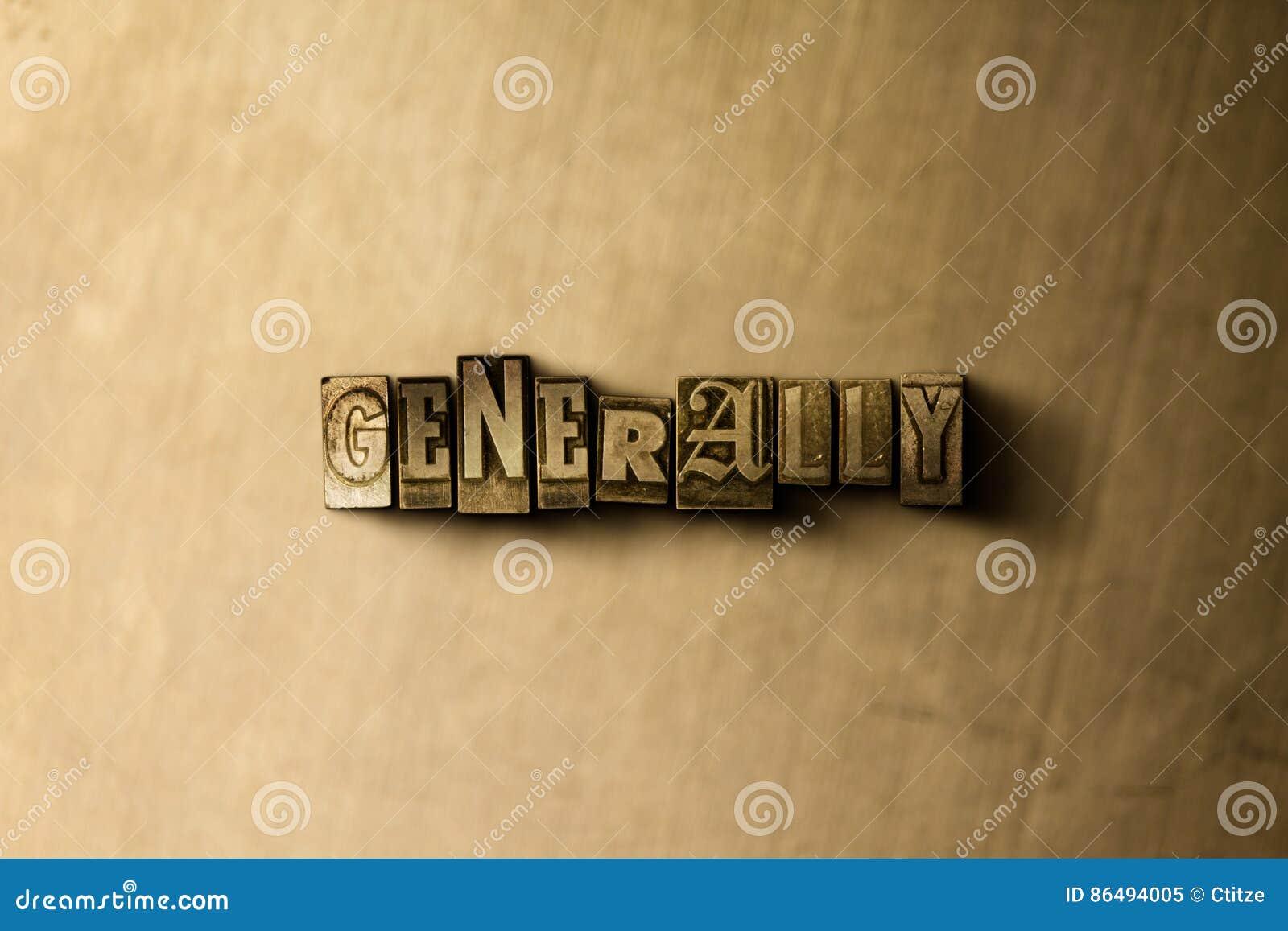 ALLMÄNT - närbild av det typsatta ordet för grungy tappning på metallbakgrunden