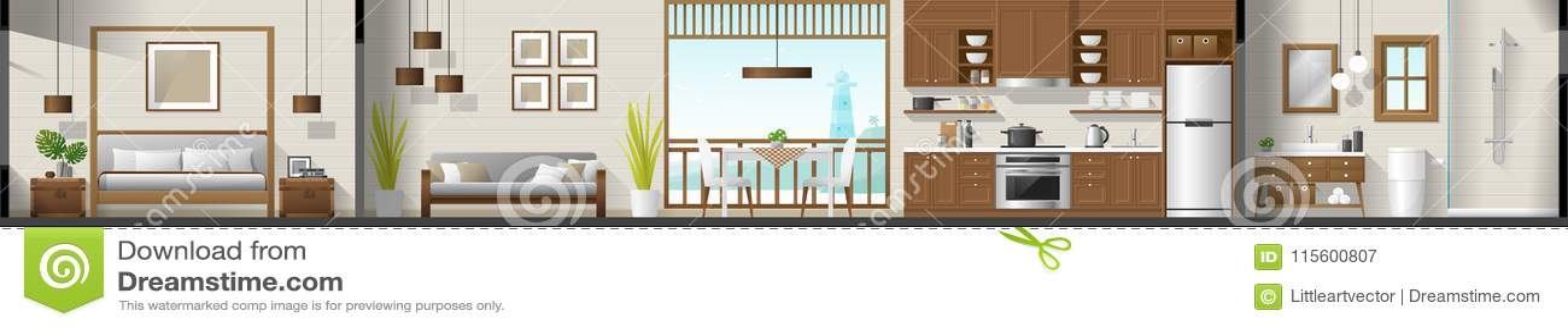 Alloggi il panorama interno della sezione compreso la camera da letto, il salone, la sala da pranzo, la cucina ed il bagno