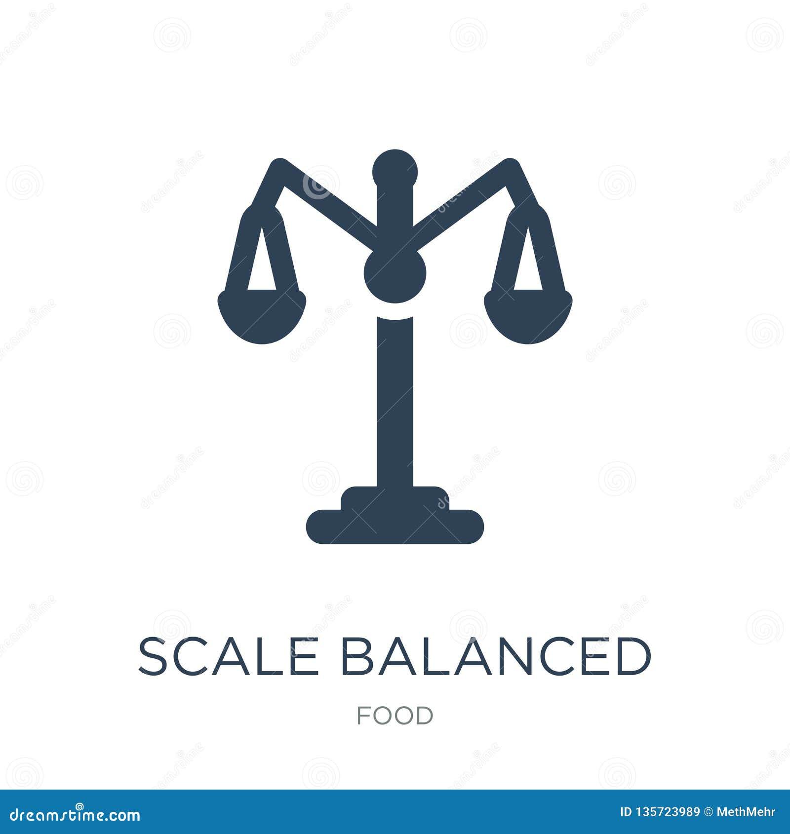 Allsidig hjälpmedelsymbol för skala i moderiktig designstil skalan balanserade hjälpmedelsymbolen som isolerades på vit bakgrund