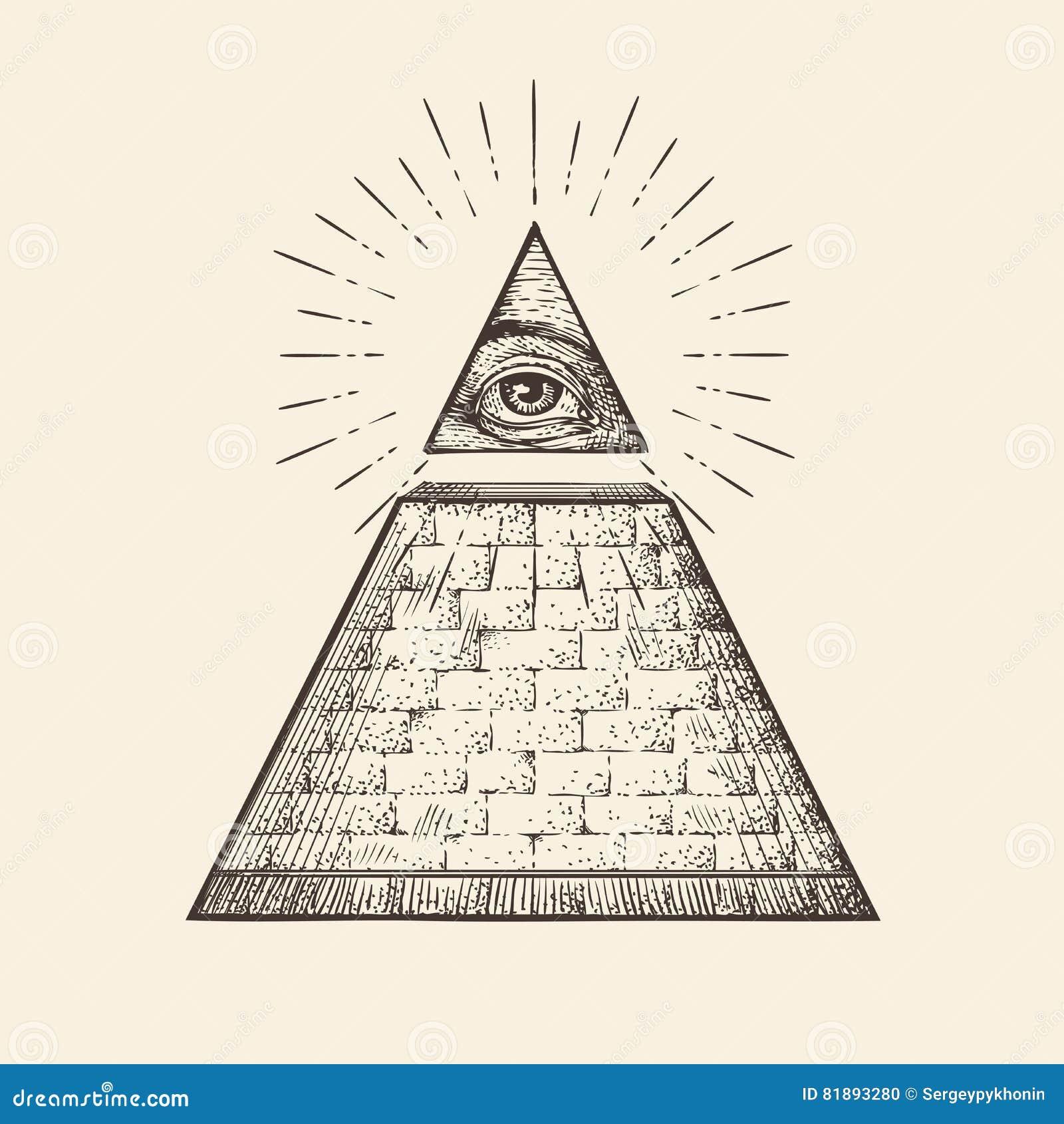 Allt seende ögonpyramidsymbol ny beställningsvärld Den drog handen skissar vektorn