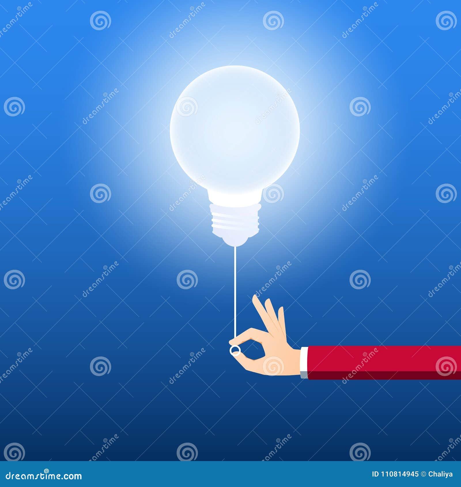 Allumez le concept créatif d ampoule Homme d affaires tirant l interrupteur de lampe pour allumer l idée Concept créateur d idée