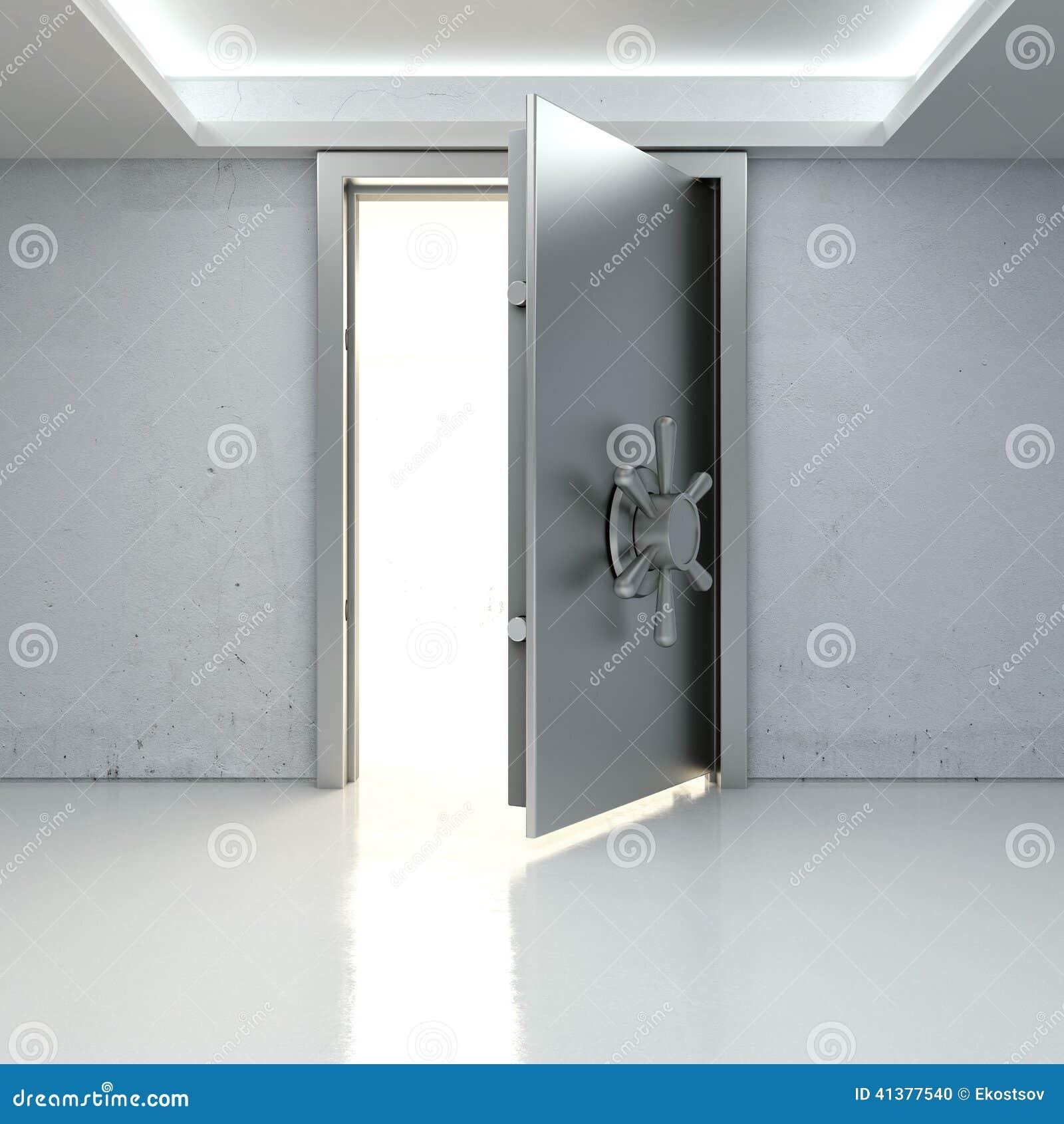 Allumez par une porte entrouverte du coffre fort de banque illustration stock - Porte de coffre fort ...