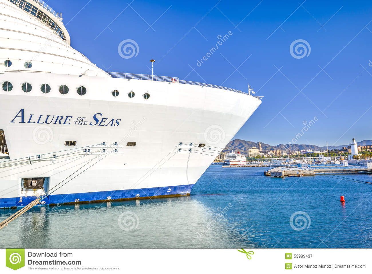Malaga spain on april 29 2015 the largest cruise ship in the world