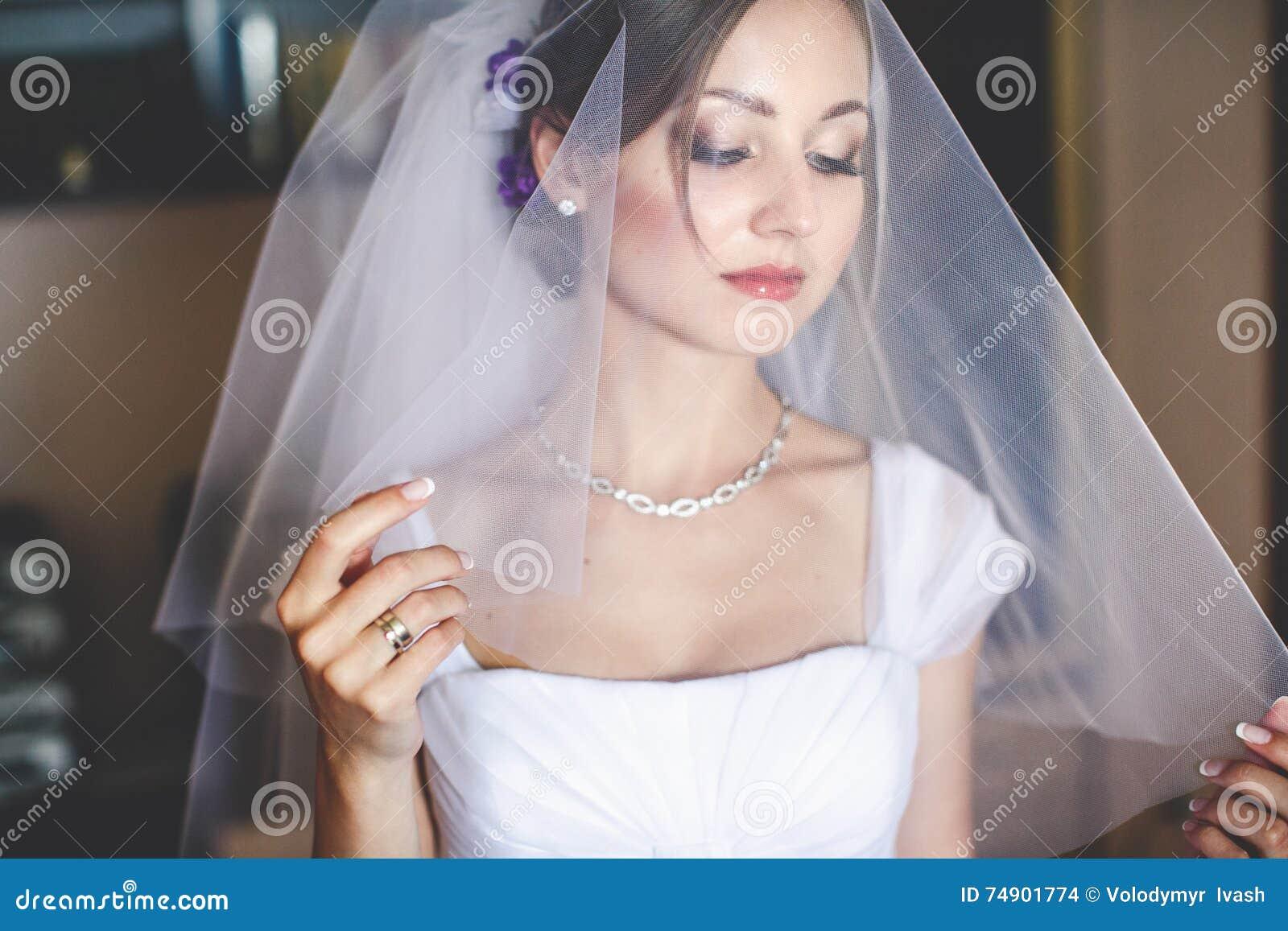 Alluring bride looks through the veil