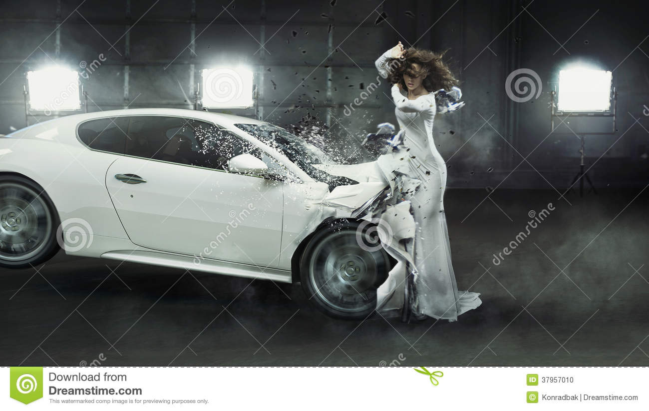 Alluring Fashionable Lady In The Middle Of Car Crash Stock ...