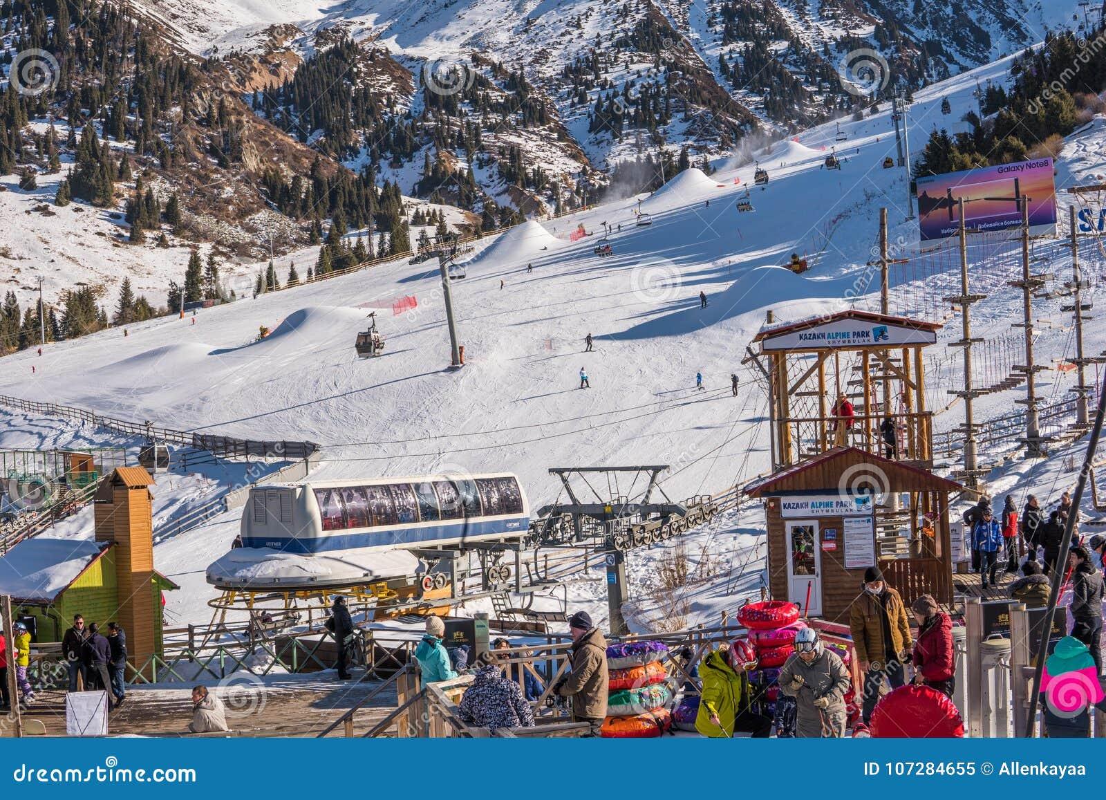 almaty, kazakhstan 18 december 2018: shymbulak ski resort near a