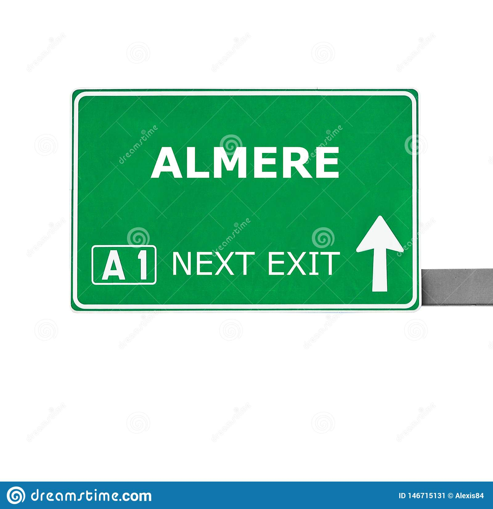 ALMERE road sign isolated on white