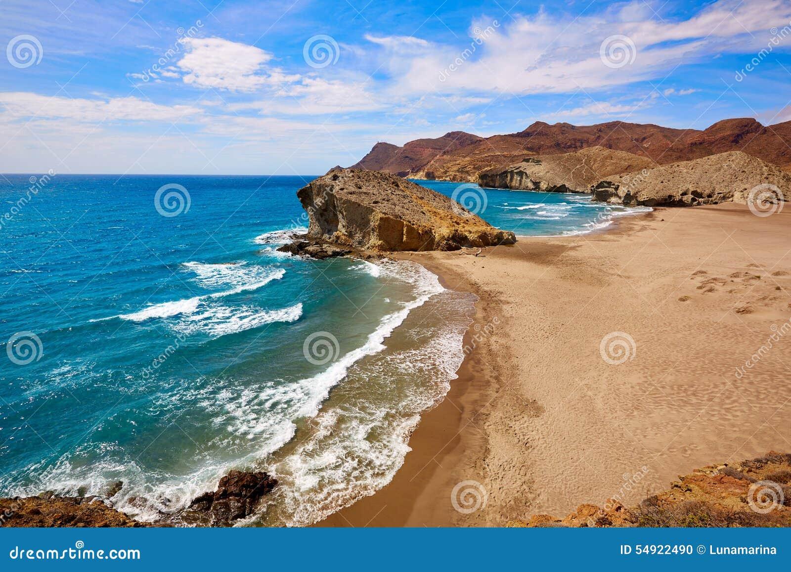 Almeria playa del monsul beach at cabo de gata stock photo for Cabo de gata spain