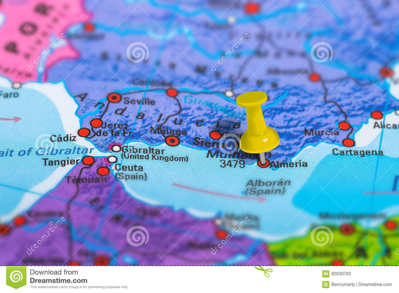 Map Of Spain Almeria.Almeria Spain Map Stock Image Image Of Guidance Concept 82630783