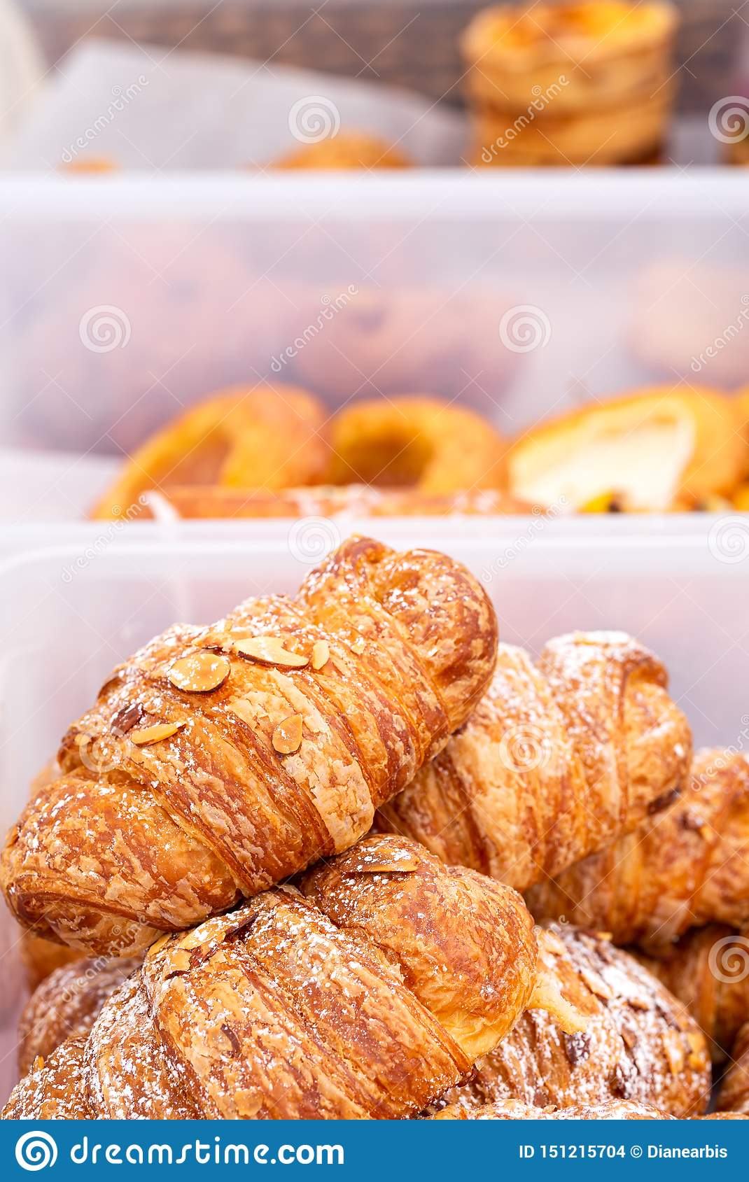 Almond croissant at an outdoor market