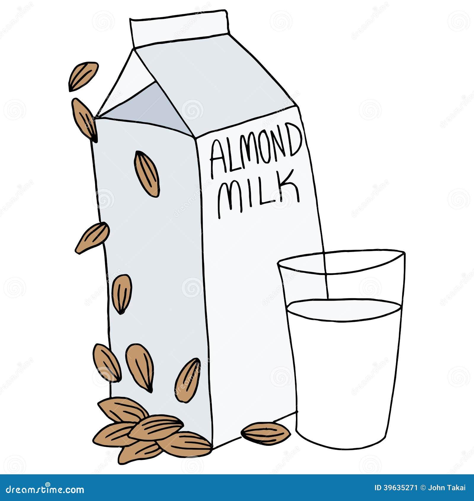Almond milk carton stock vector image 39635271