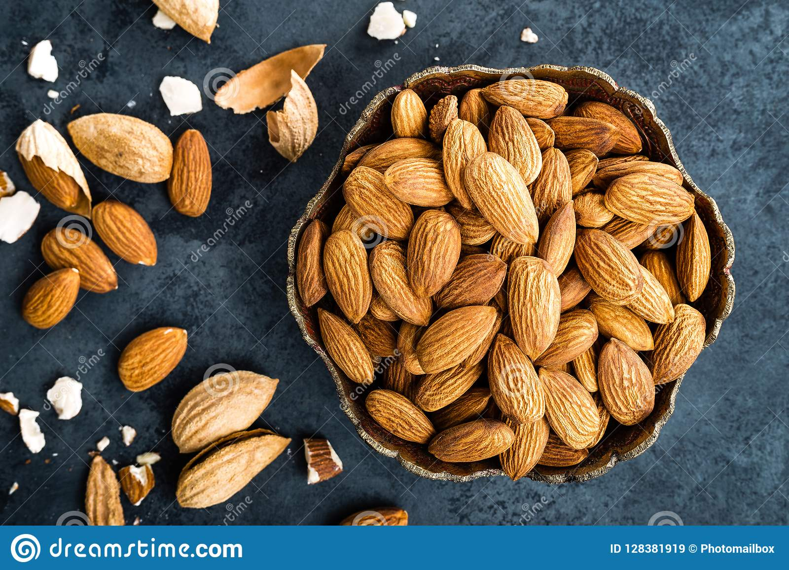 Almond Nuts In Bowl. Almonds Stock Image - Image of health ...