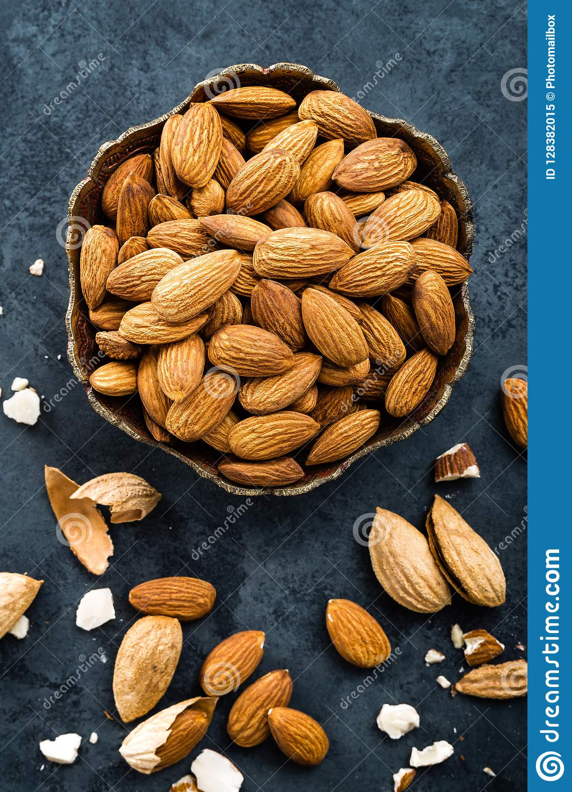 Almond Nuts In Bowl. Almonds Stock Image - Image of fresh ...