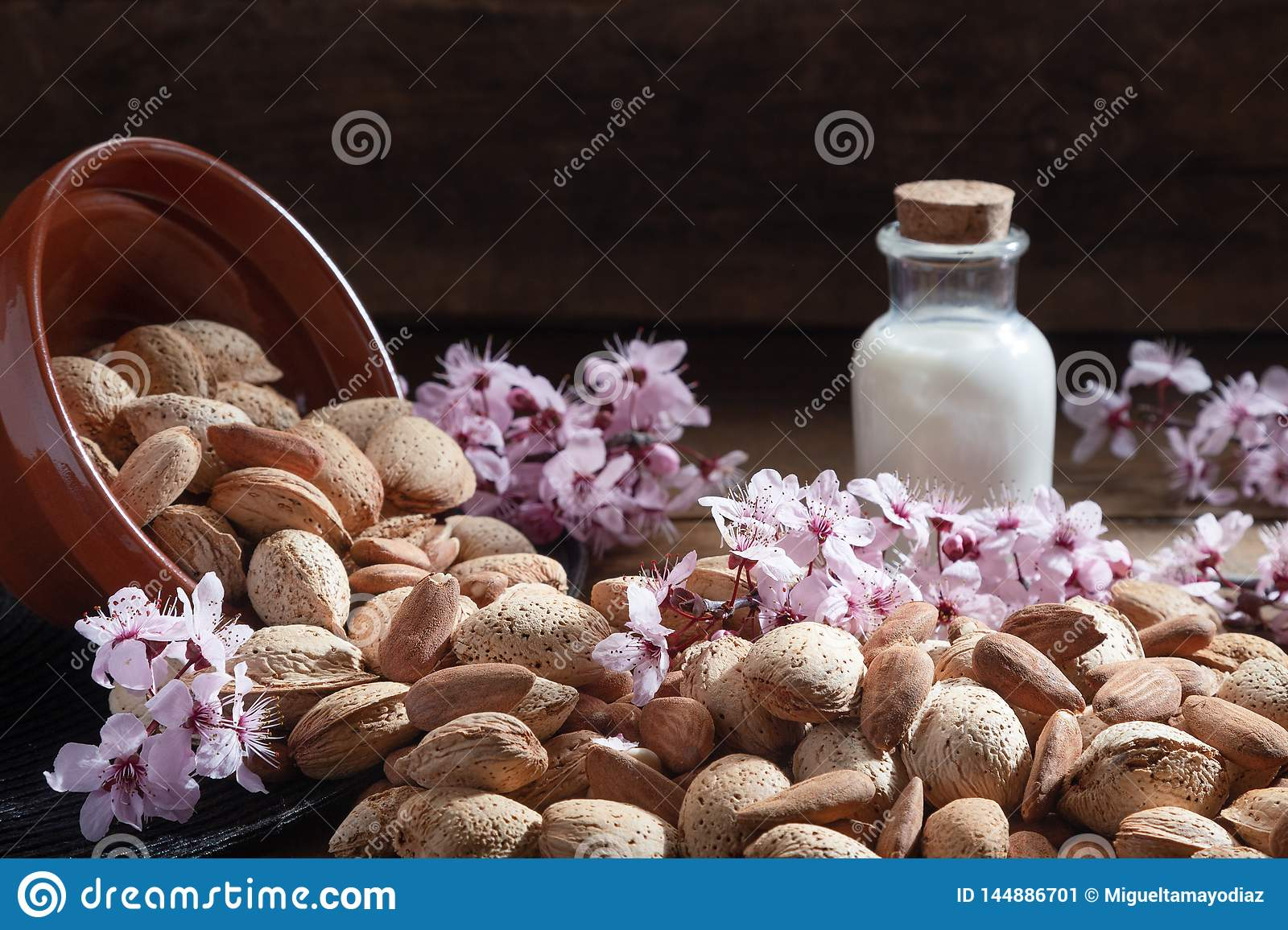 Almonds, almond flowers and almond milk