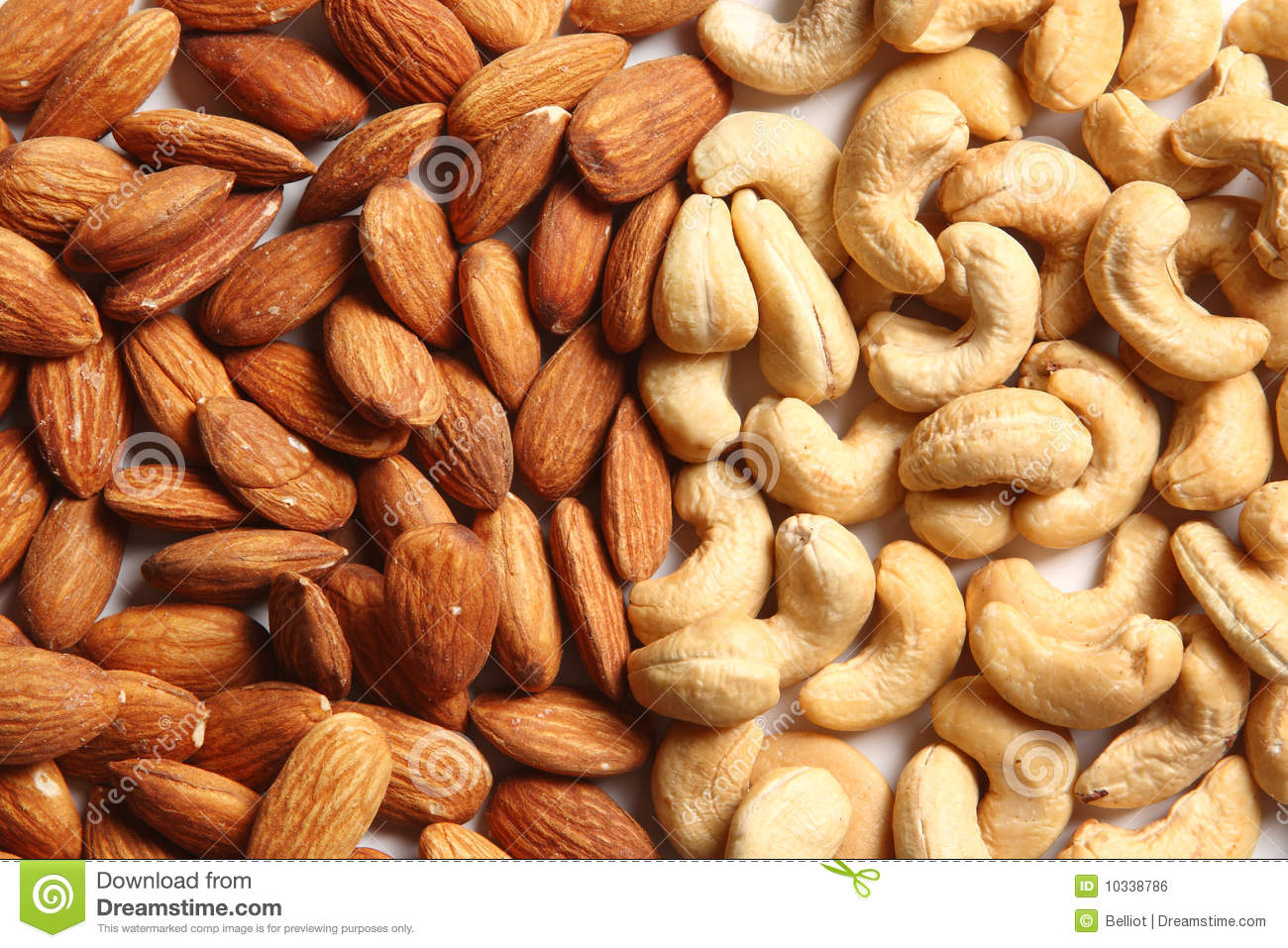 Almonds and cashew Nuts stock photo. Image of messy, nutritious - 10338786