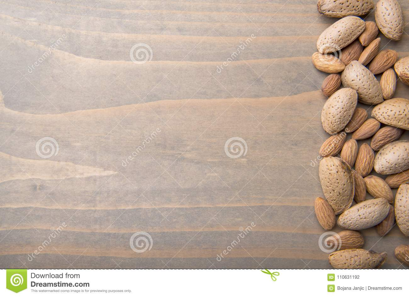 Almonds On Wooden Background Stock Photo - Image of natural