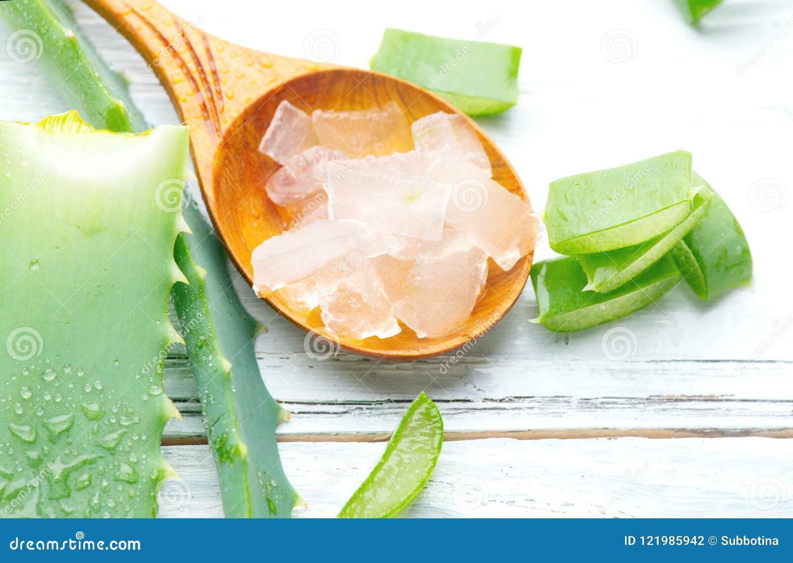 Aloe Vera Gel Closeup On White Wooden Background  Organic