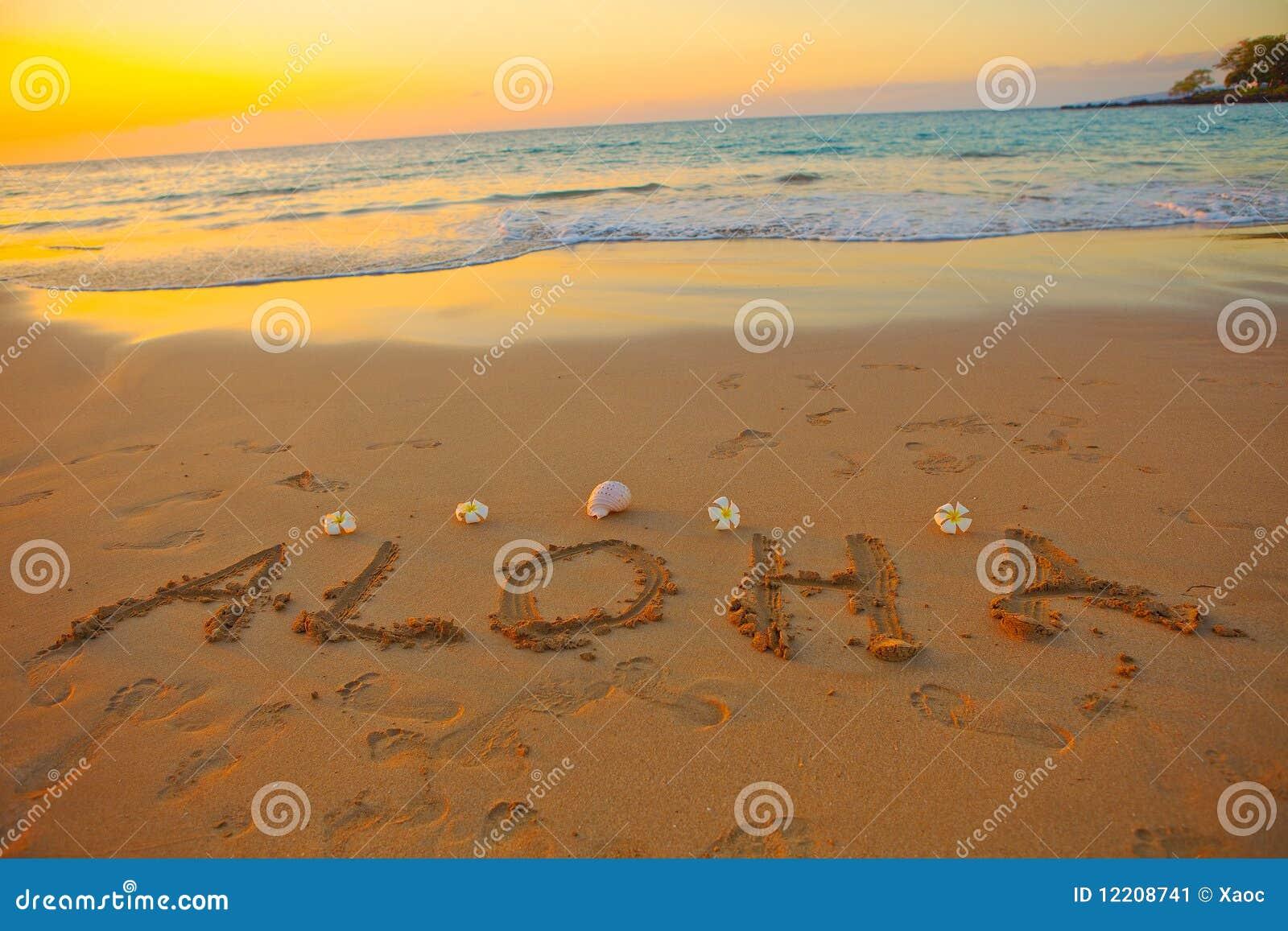 Aloha escrito na areia