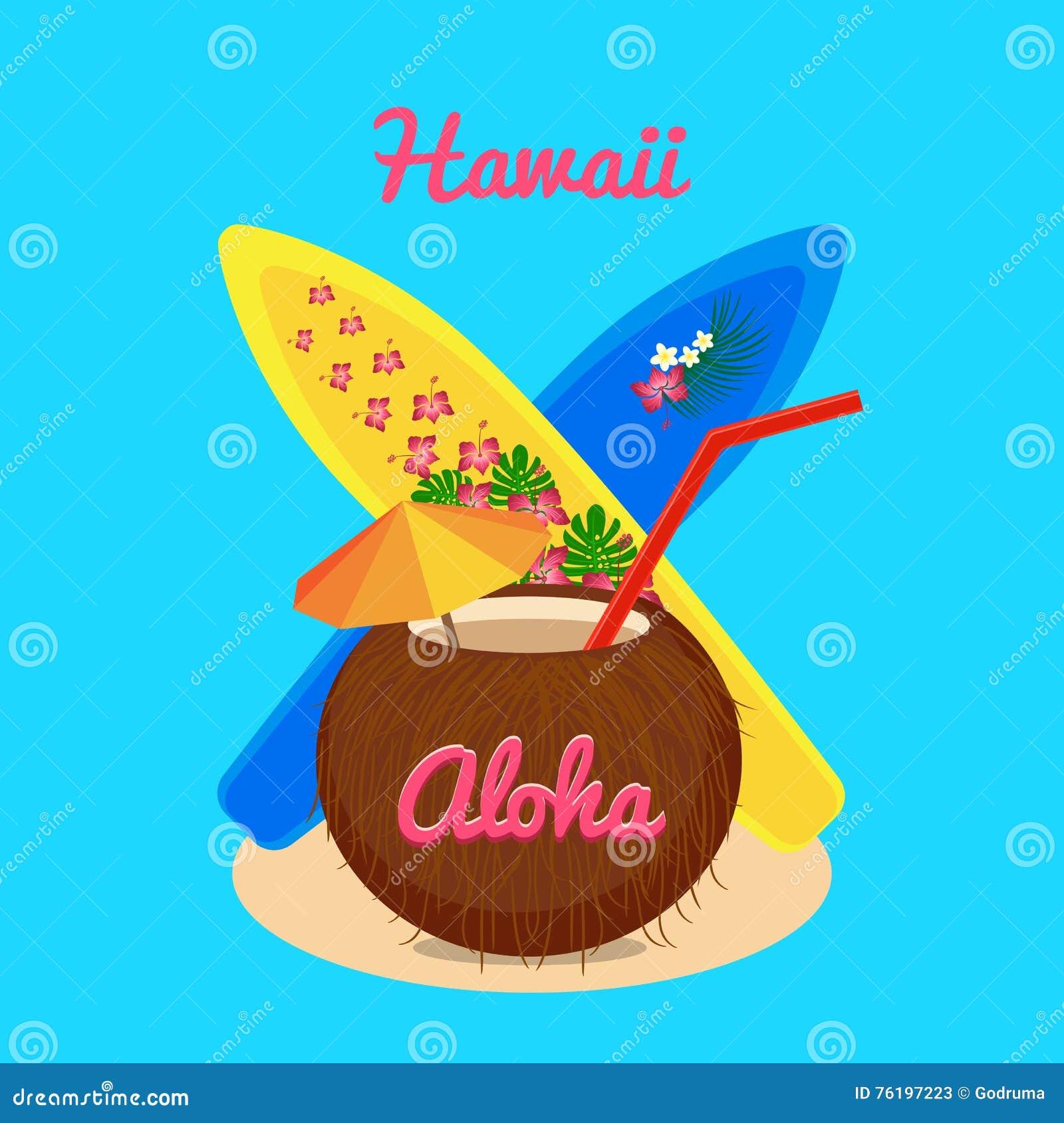 cf132bdeb Aloha Hawaii Carefree Happy Life, Vector Illustration Stock Vector ...