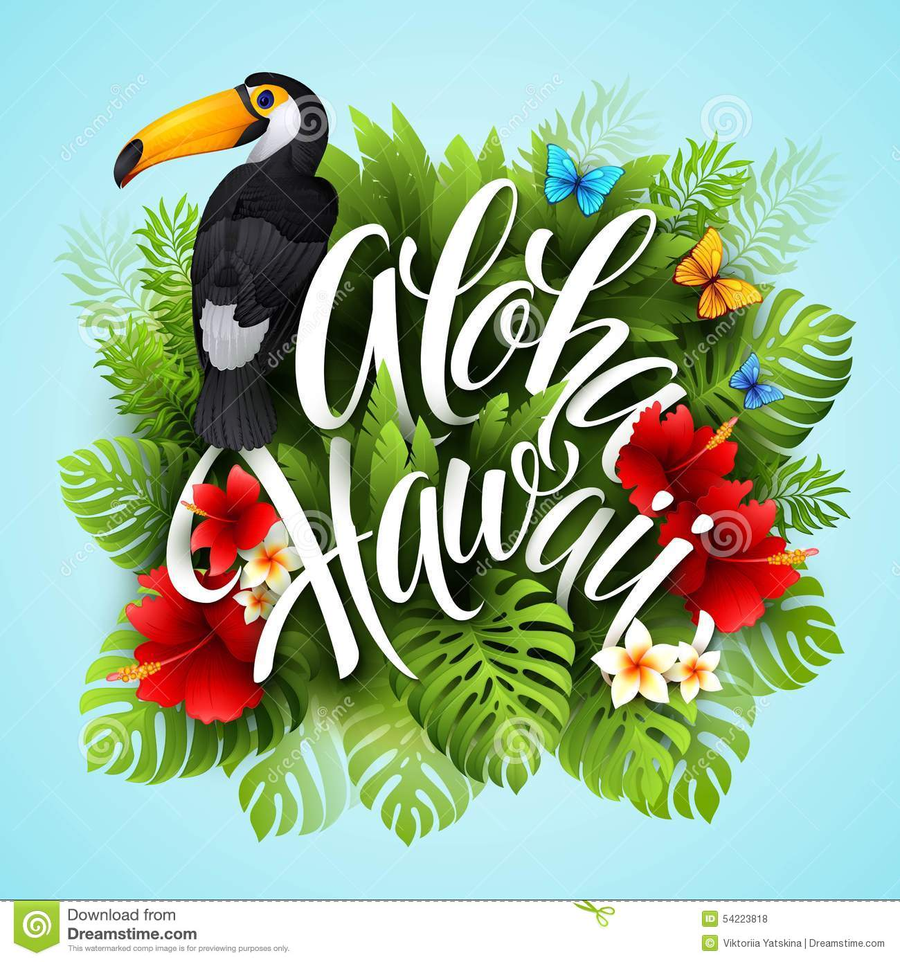 Aloha Hawaii Hand Lettering With Exotic Flowers