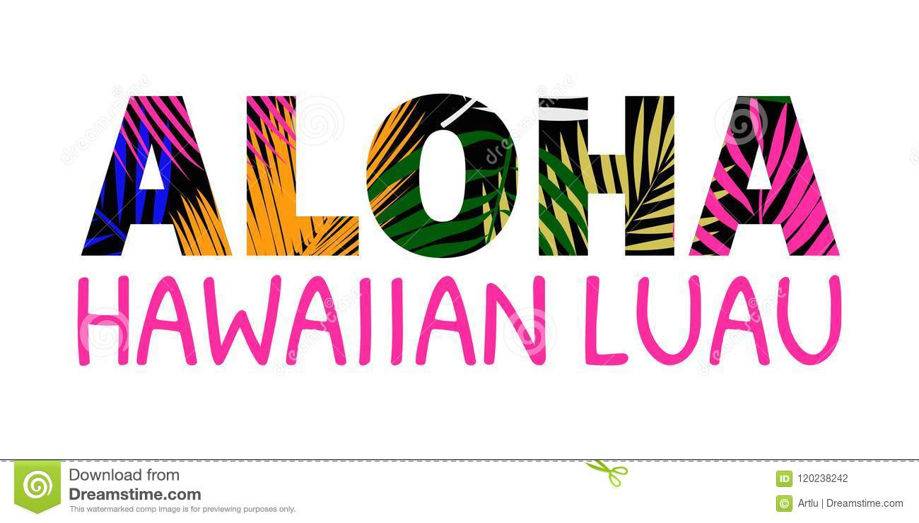 Aloha Hawaii Lettering T Shirt Design Best Creative For Poster Flyer Presentation Vector Background