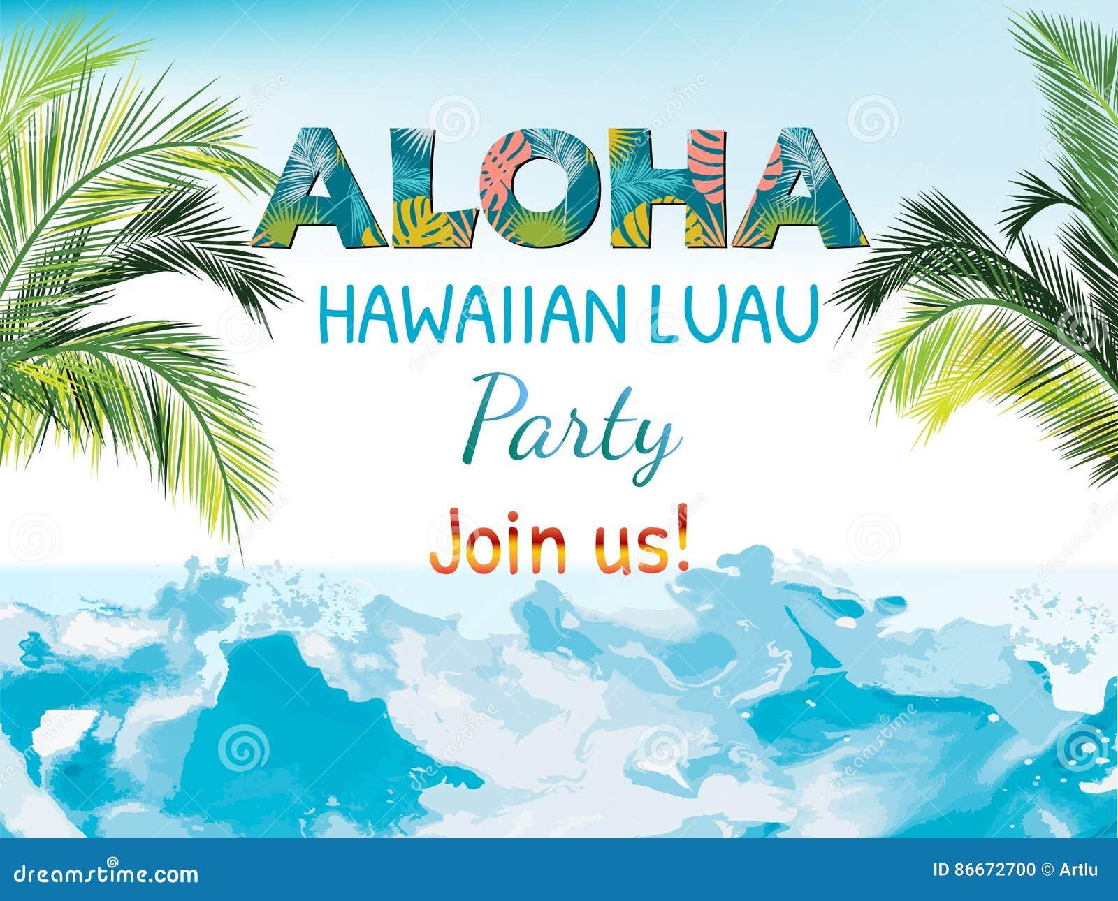 aloha hawaiian party template invitation stock vector