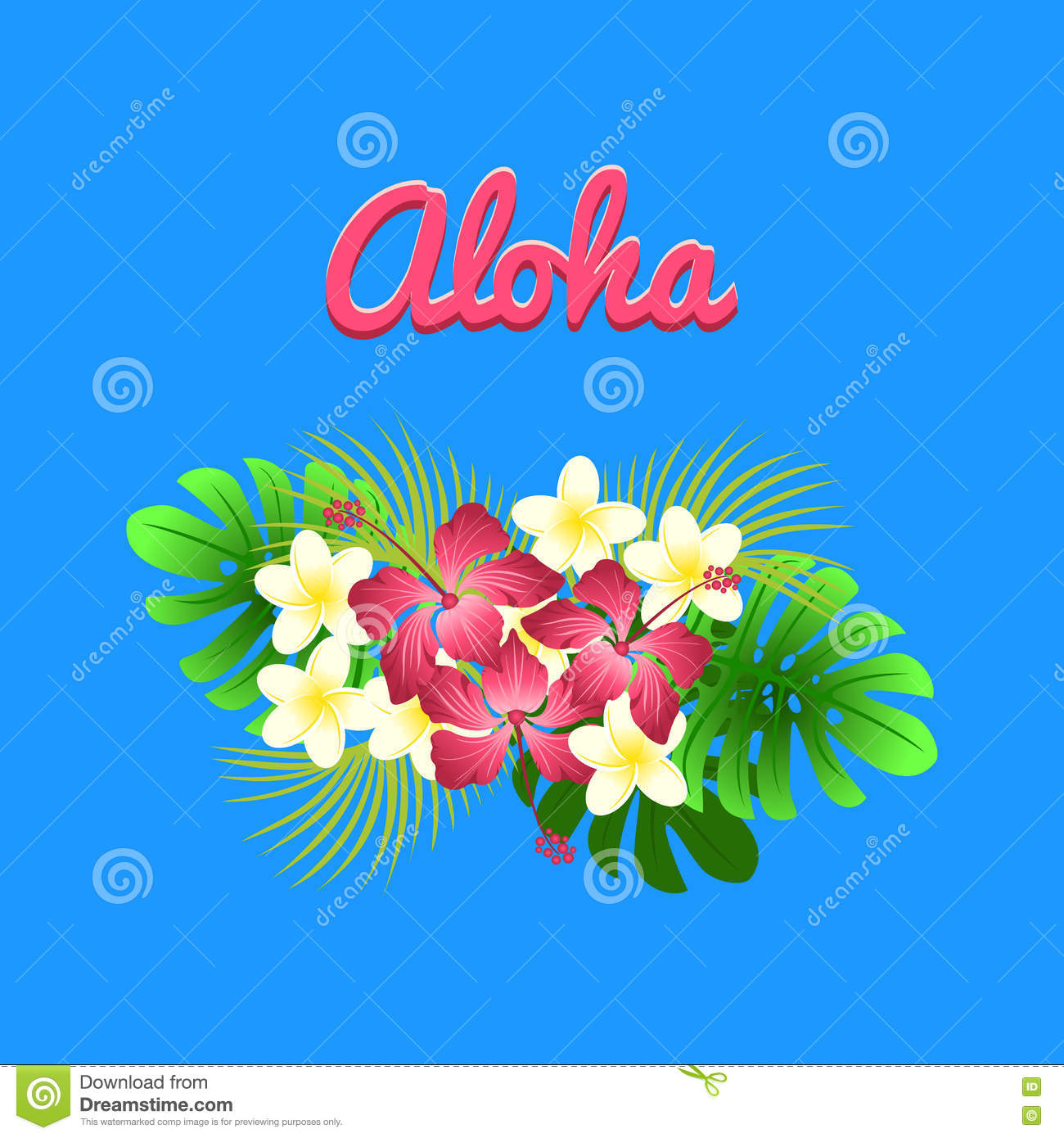 34a000c46 Aloha hibiscus flower as a symbol of Hawaii, colorful vector flat  illustration