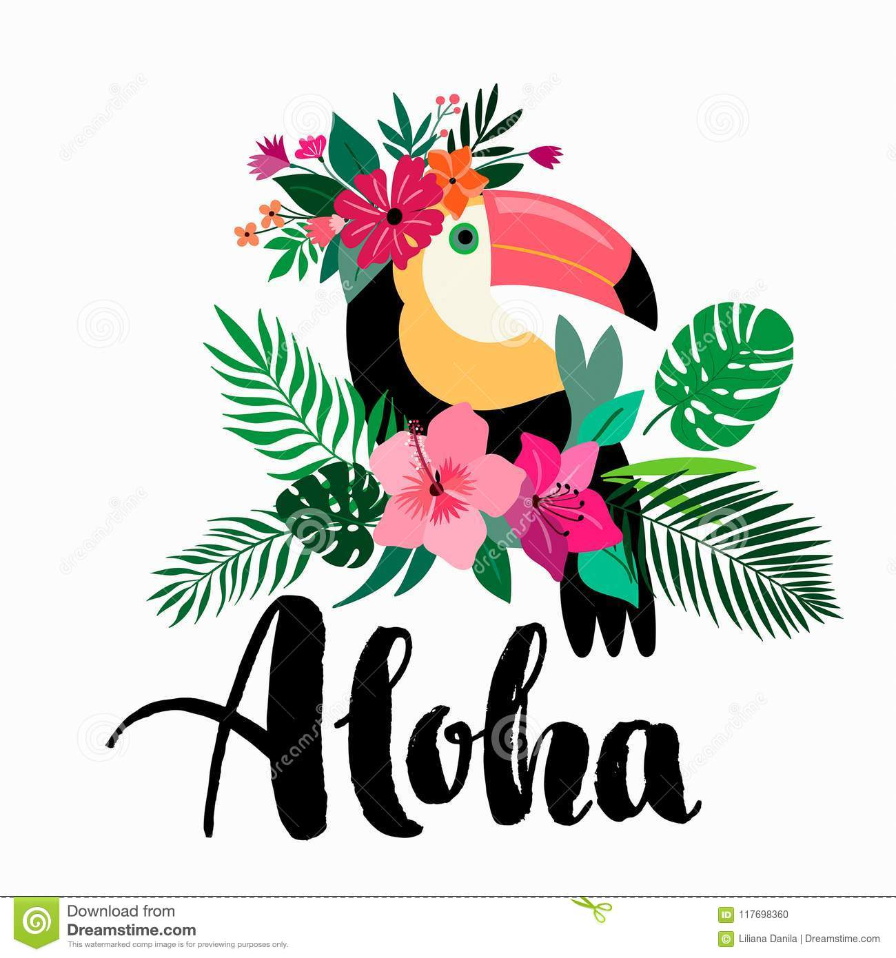 aloha invitation card design with tropical elements and hand