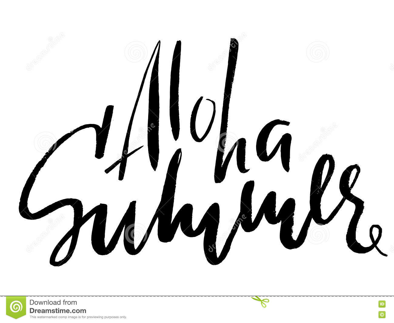 Aloha Lettering Vector Calligraphy Illustration Summer