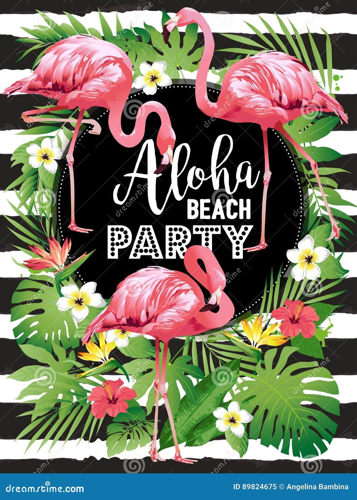 Aloha plaży przyjęcie Wektorowa ilustracja tropikalni ptaki, kwiaty, liście