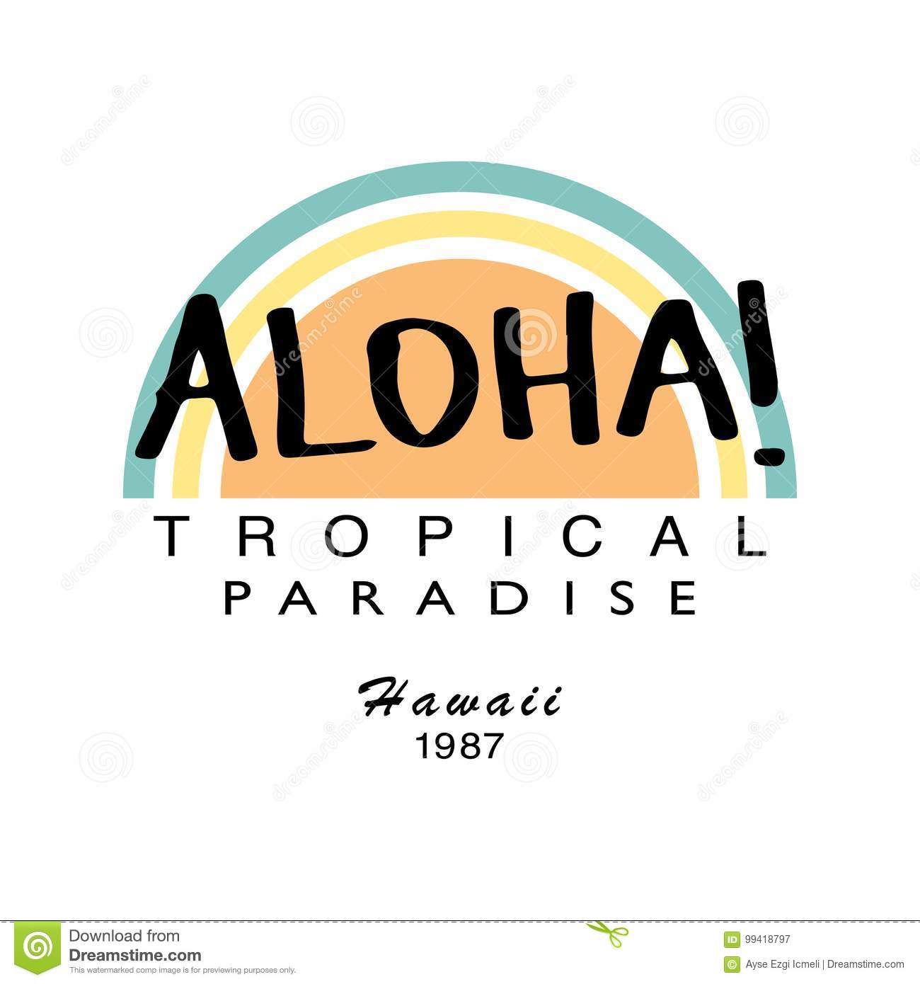 Aloha Summer T Shirt Graphics Vector Print Design Stock