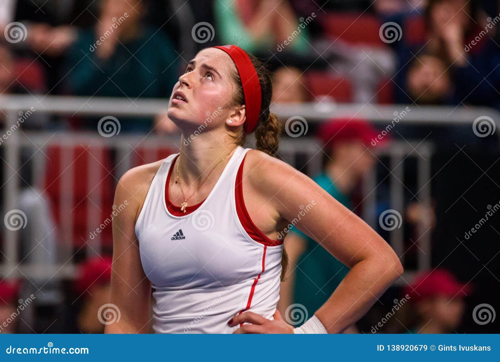 Alona Ostapenko, tijdens Wereldgroep II Eerste Rond spel tussen team Letland en team Slowakije