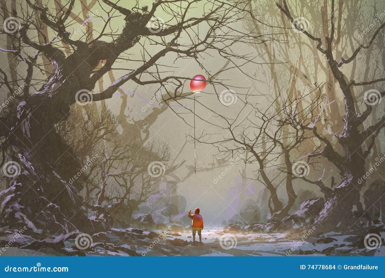 Boy looking up red balloon stuck in a tree branchesalone in dark forestillustrationdigital painting