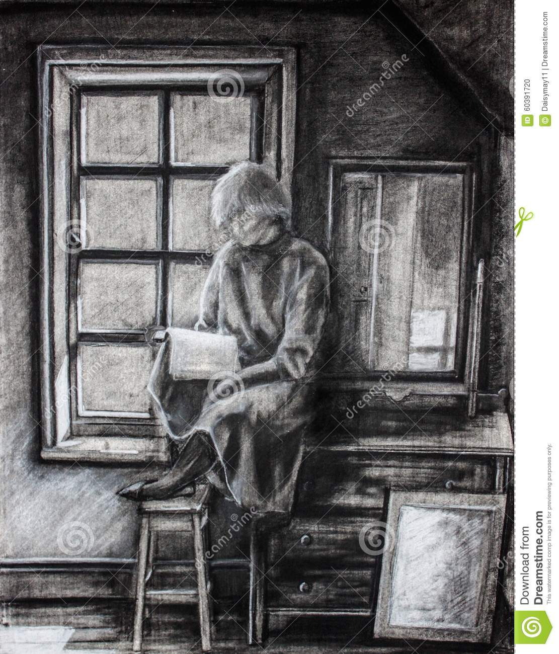 Alone girl reading book