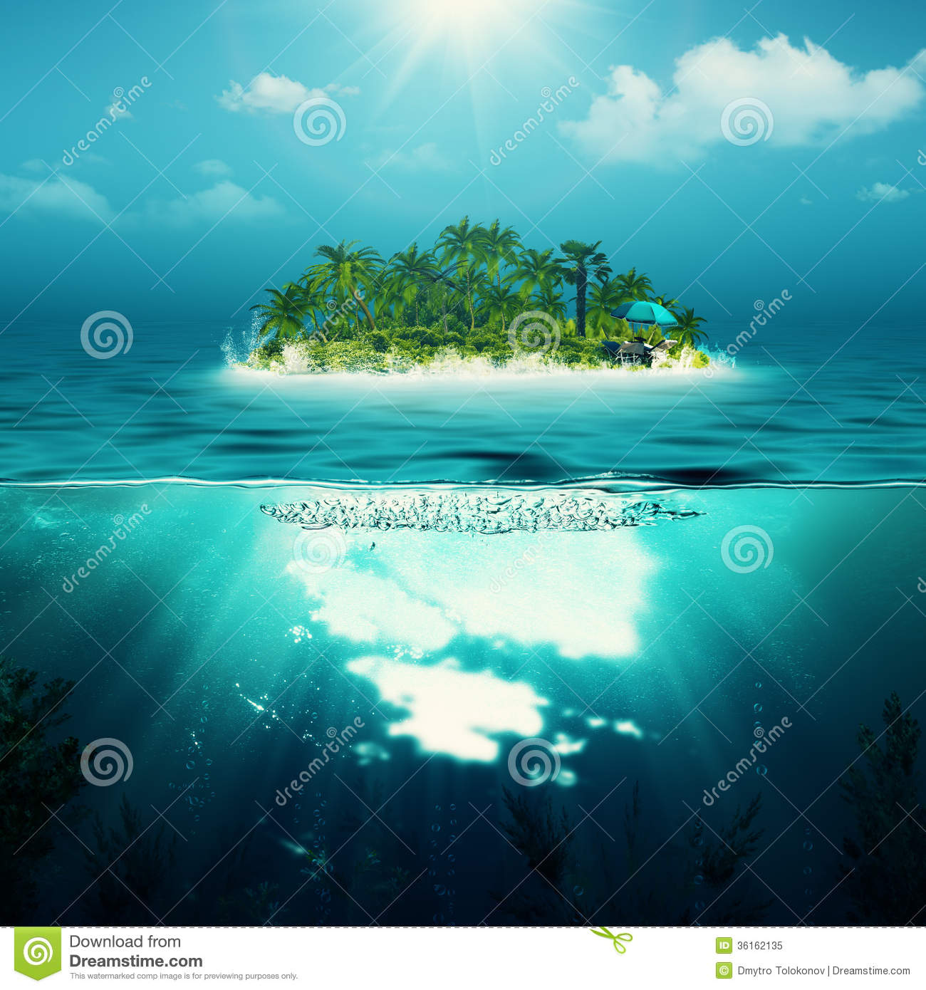 Alone Island In The Ocean Royalty Free Stock Photo