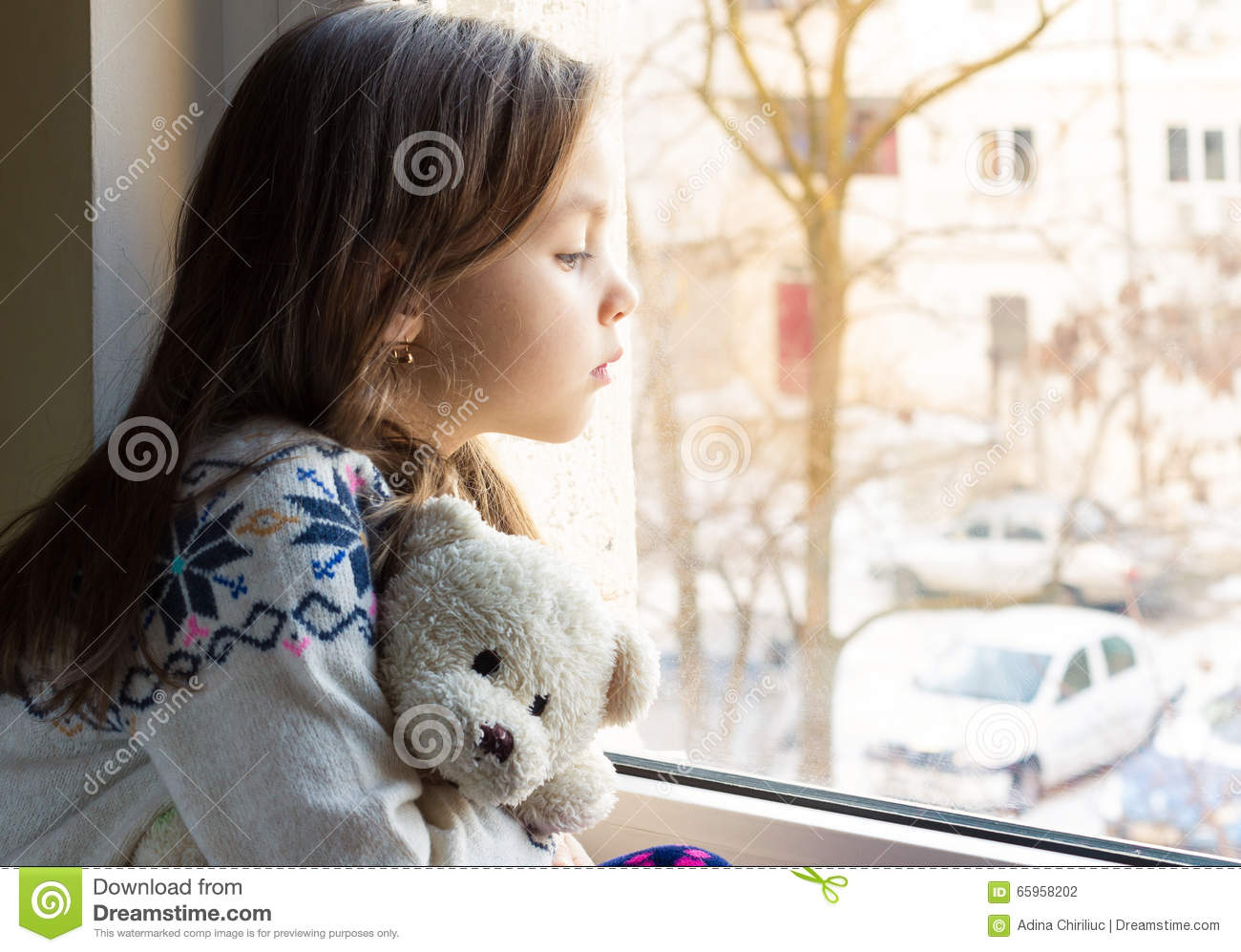 Alone Little Girl At The Window Stock Photo Image Of Sadness